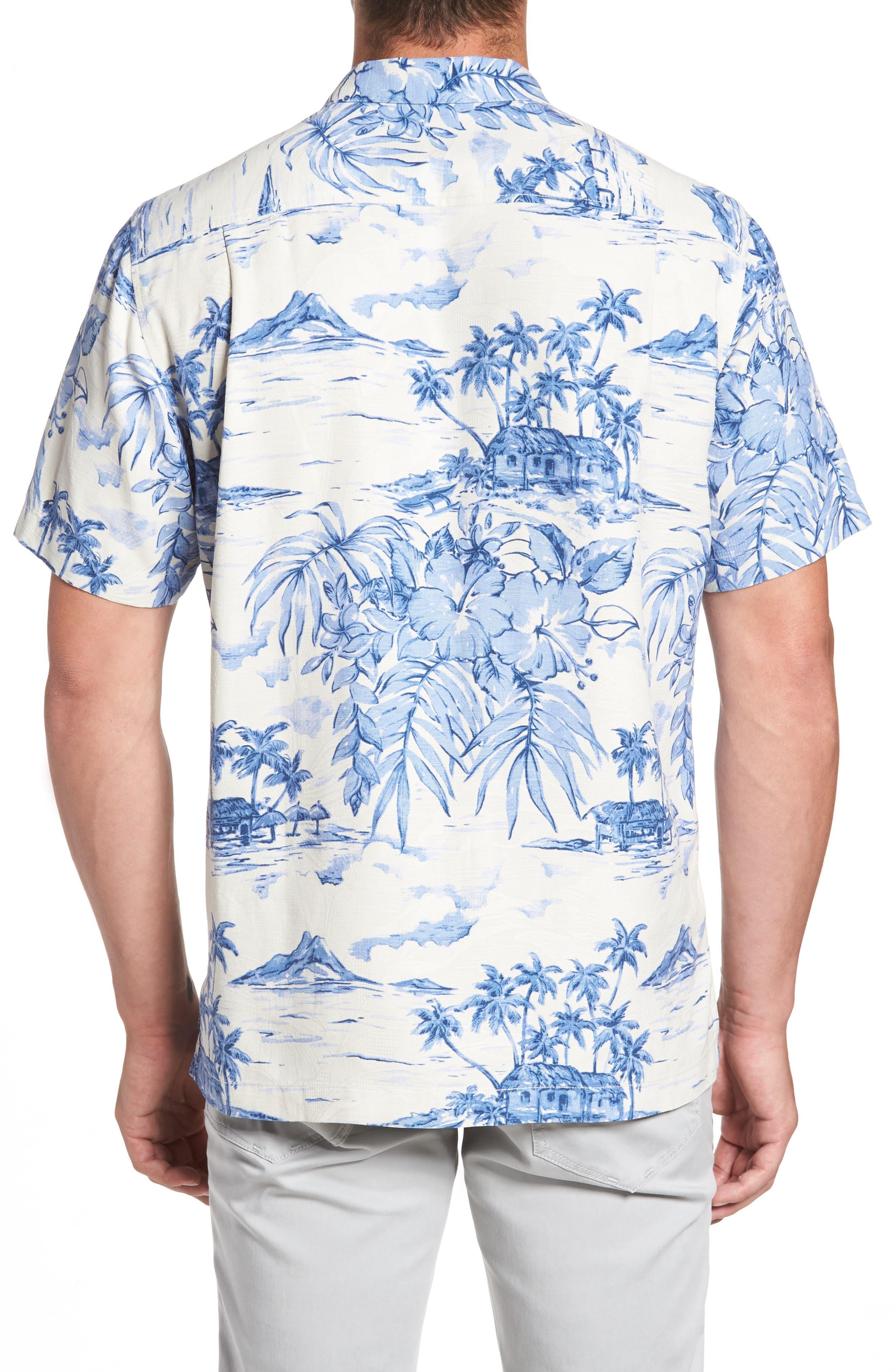 Destination Hawaii Classic Fit Silk Camp Shirt,                             Alternate thumbnail 2, color,                             100