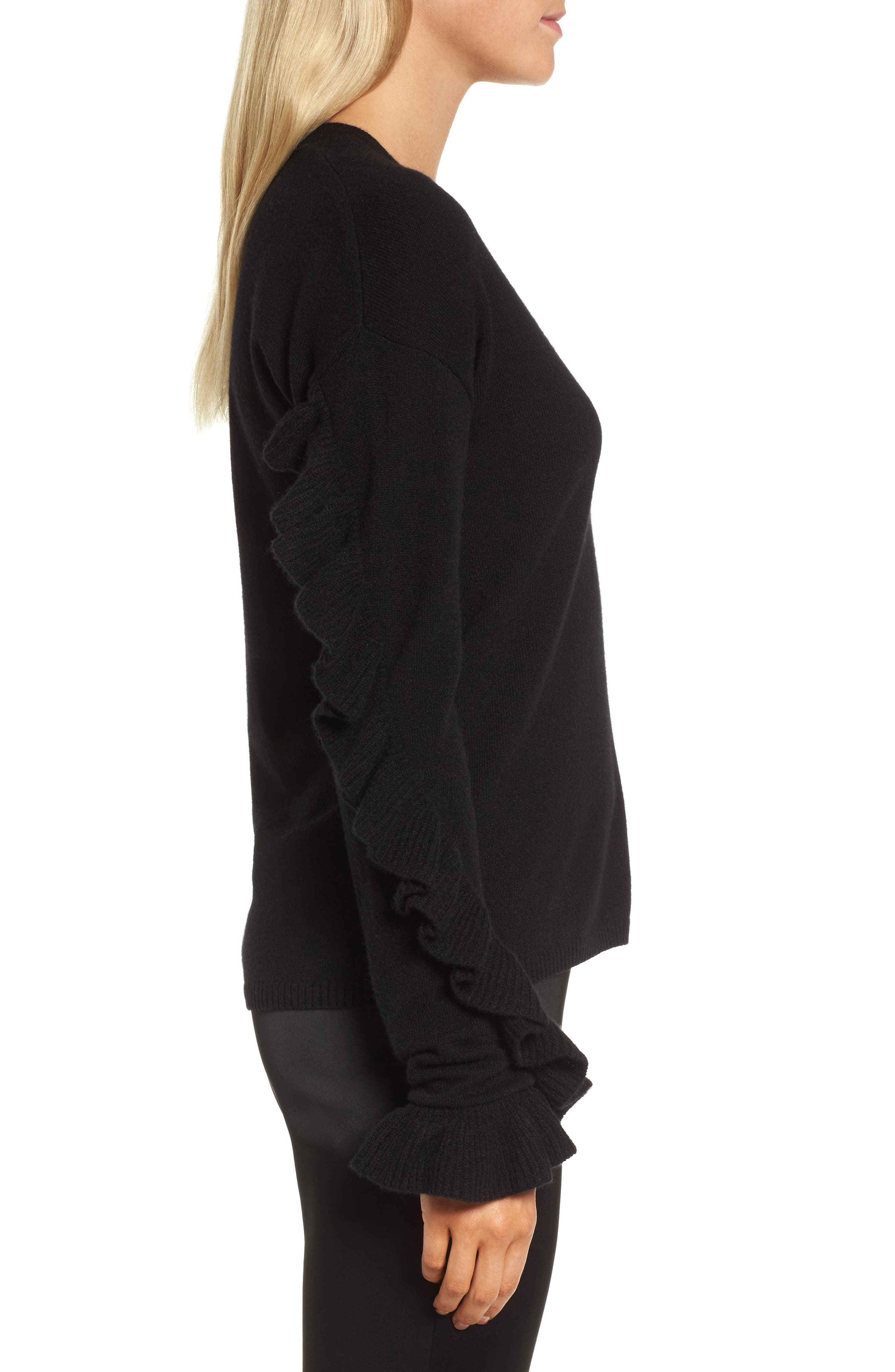 Ruffle Sleeve Cashmere Sweater,                             Alternate thumbnail 5, color,