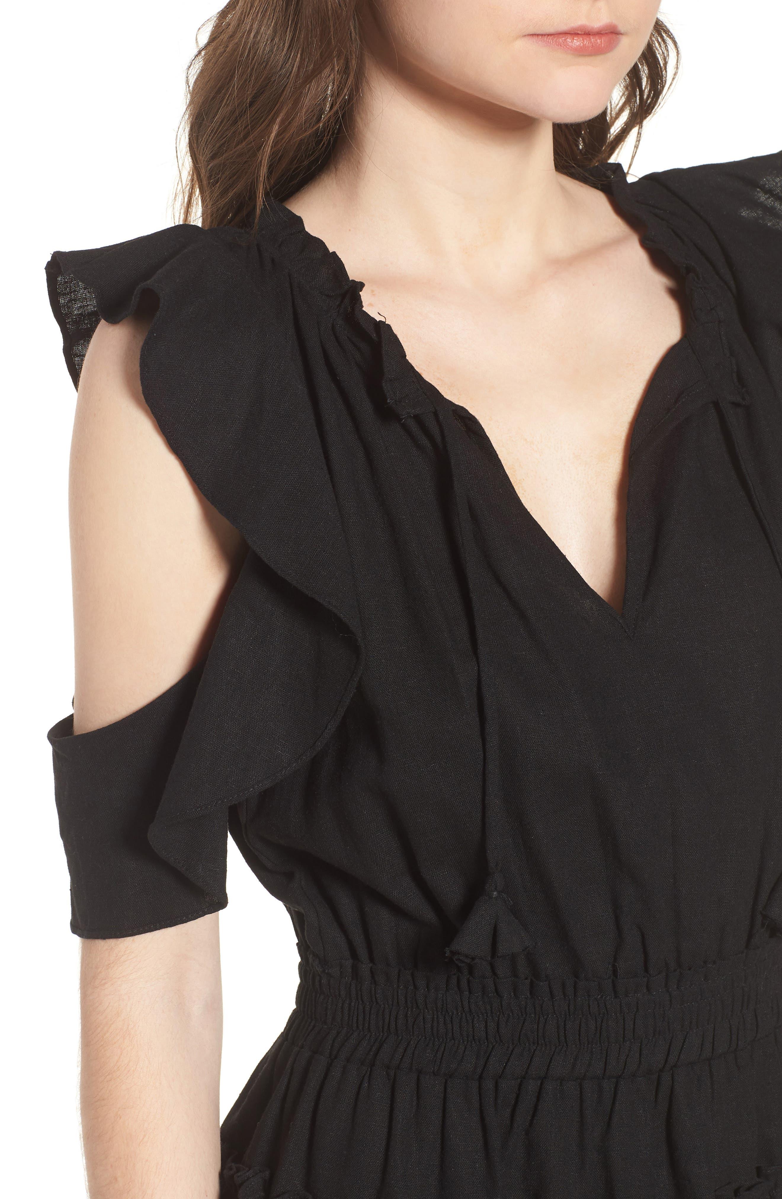 Selma Cold Shoulder Linen Blend Dress,                             Alternate thumbnail 4, color,                             001