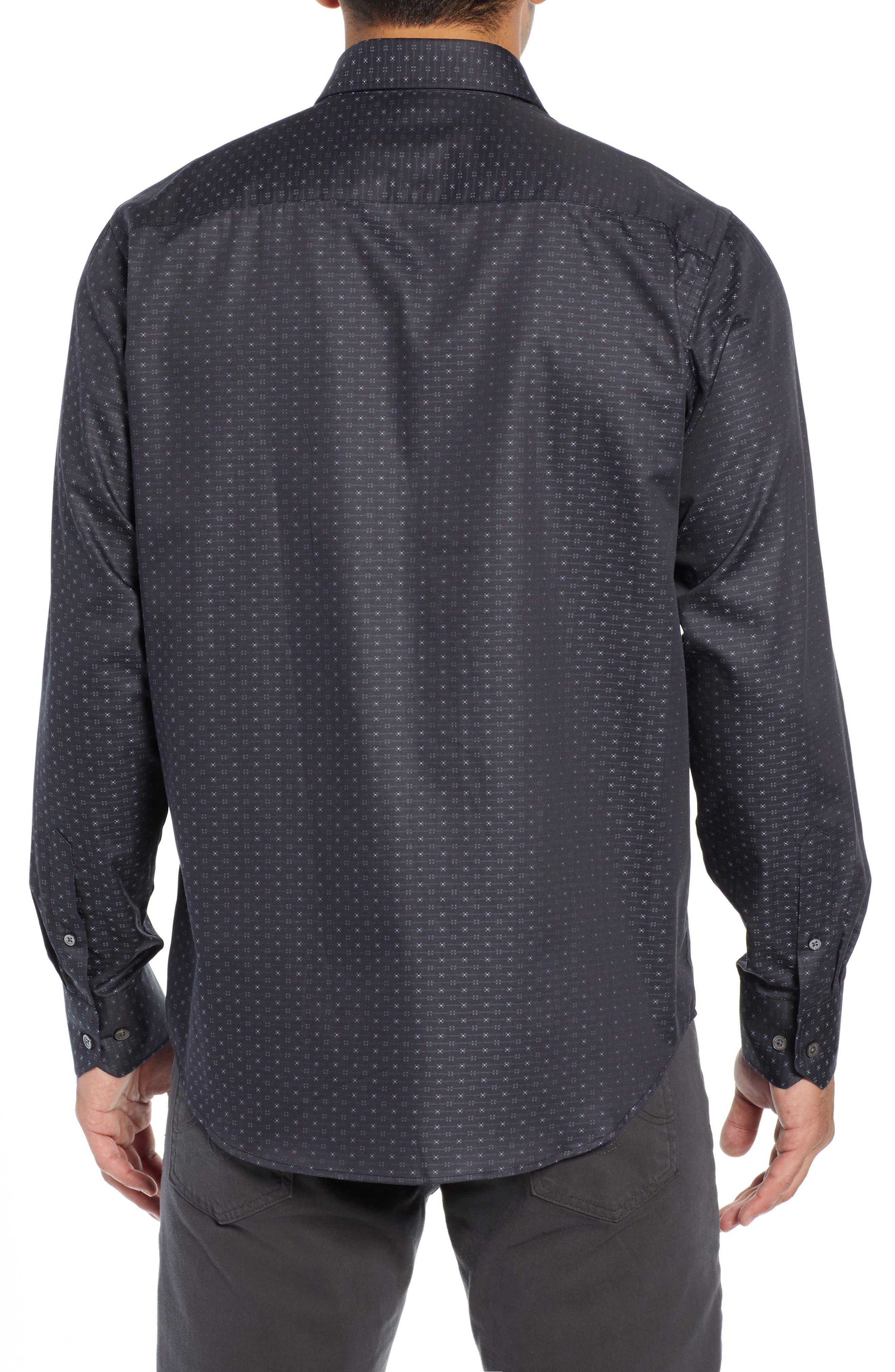 Classic Fit Print Sport Shirt,                             Alternate thumbnail 3, color,                             CHARCOAL