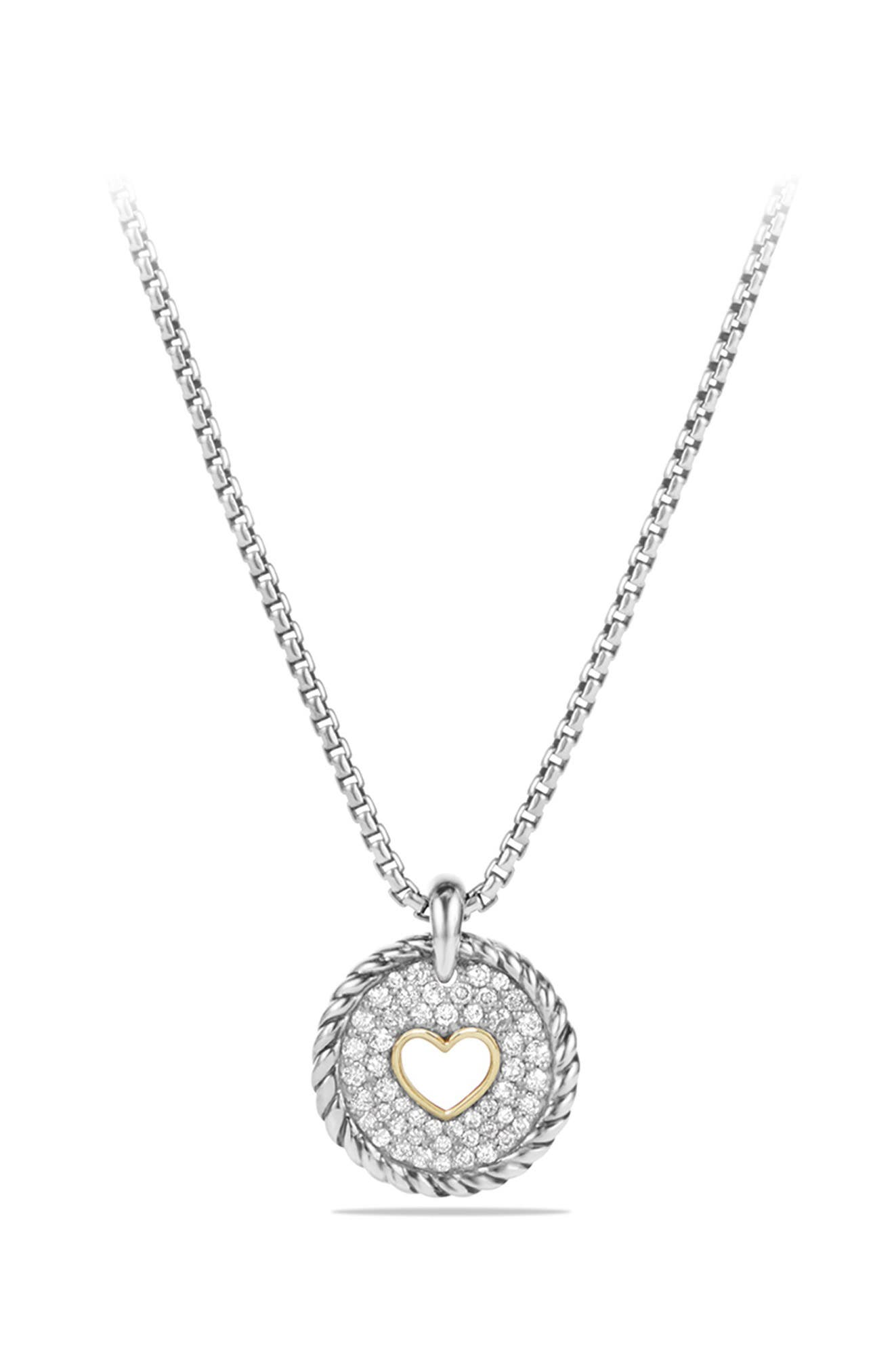 'Cable Collectibles' Heart Charm with Diamonds,                             Main thumbnail 1, color,                             SILVER/ GOLD