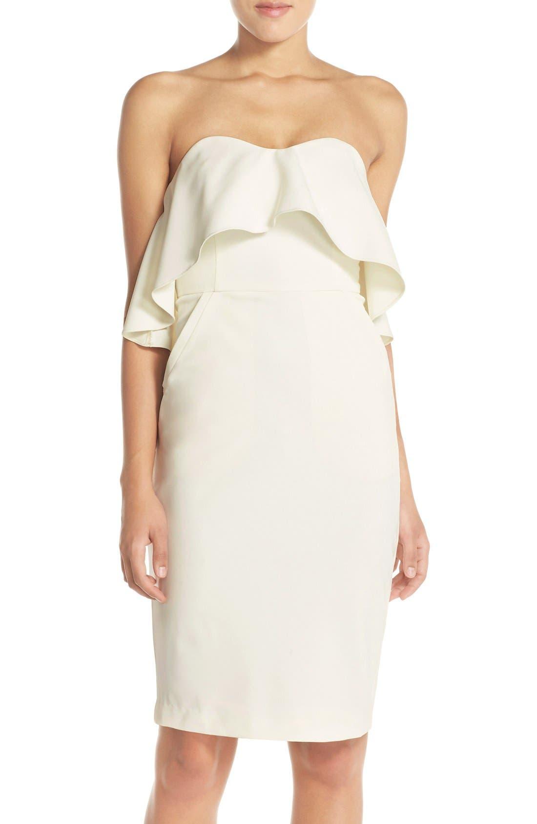 Ruffle Stretch Crepe Sheath Dress,                             Main thumbnail 6, color,