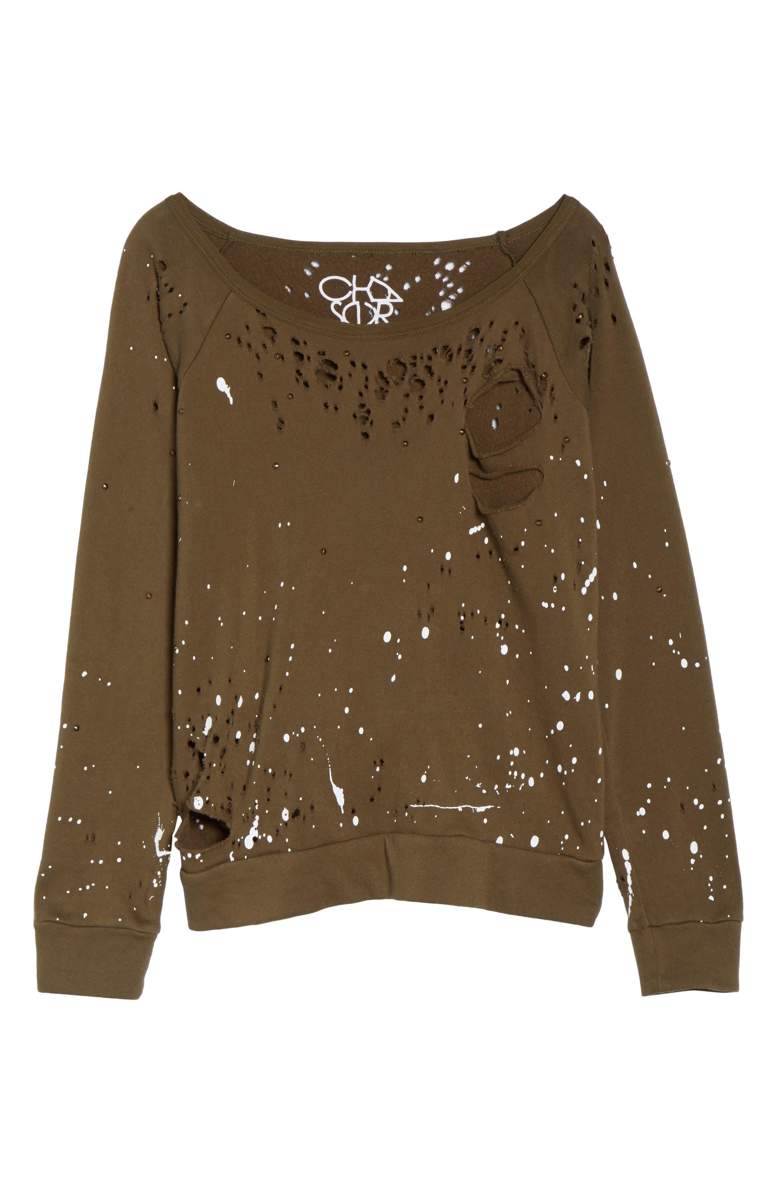 Distressed Fleece Sweatshirt,                             Alternate thumbnail 12, color,