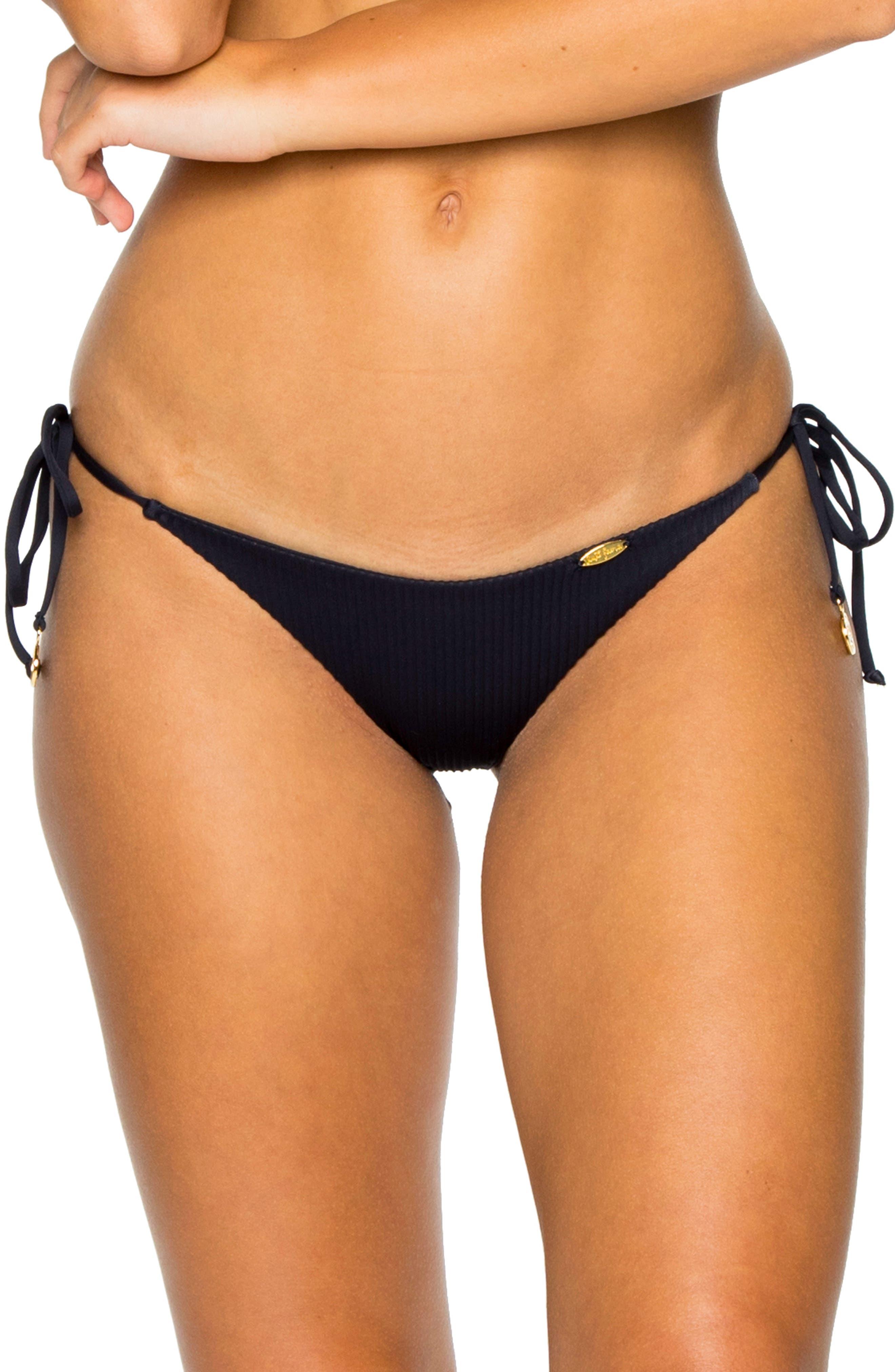 LULI FAMA Ribbed Brazilian Side Tie Bikini Bottoms in Mar De Gibraltar