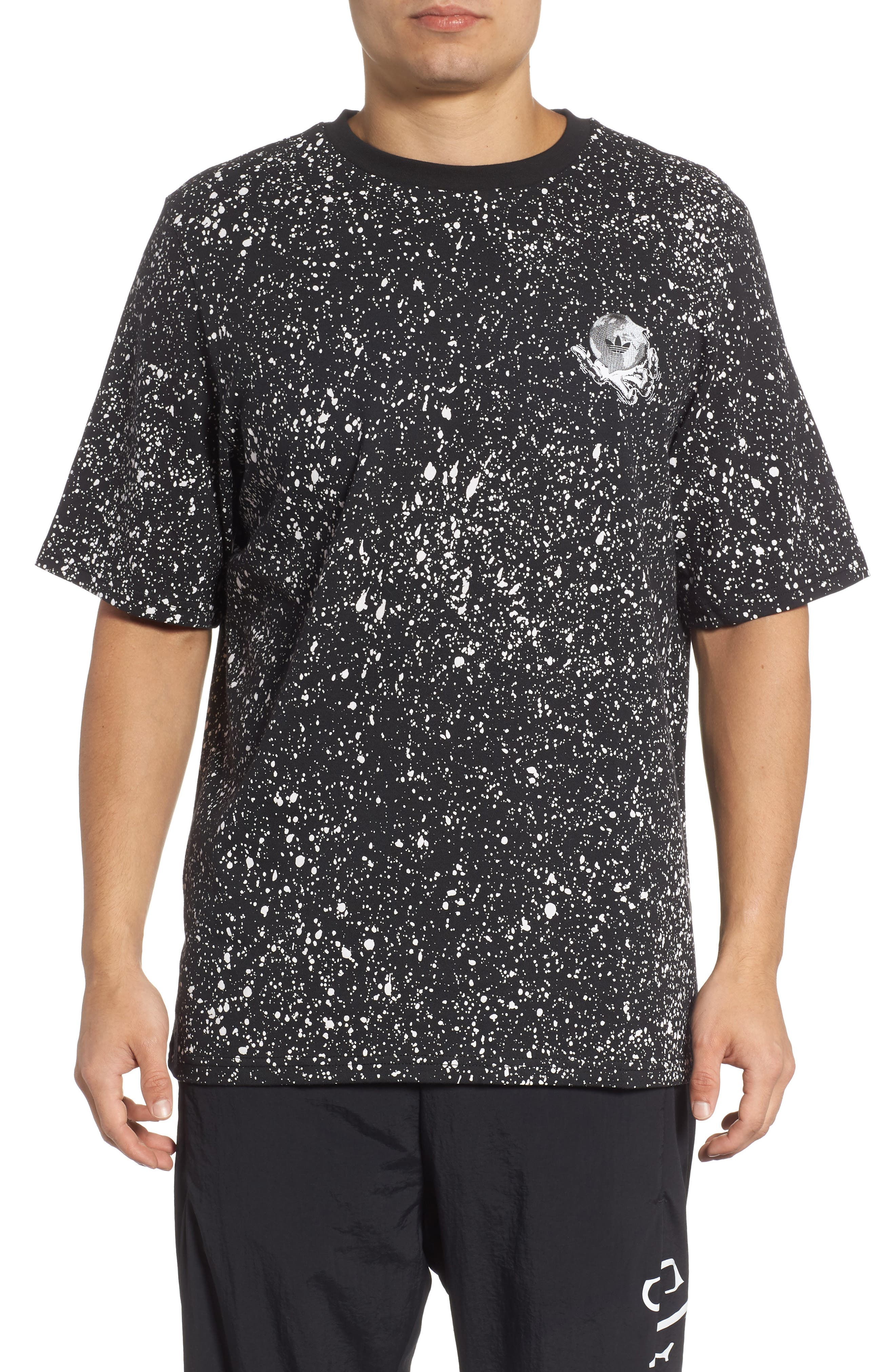 Planetoid Allover Print T-Shirt,                         Main,                         color, BLACK