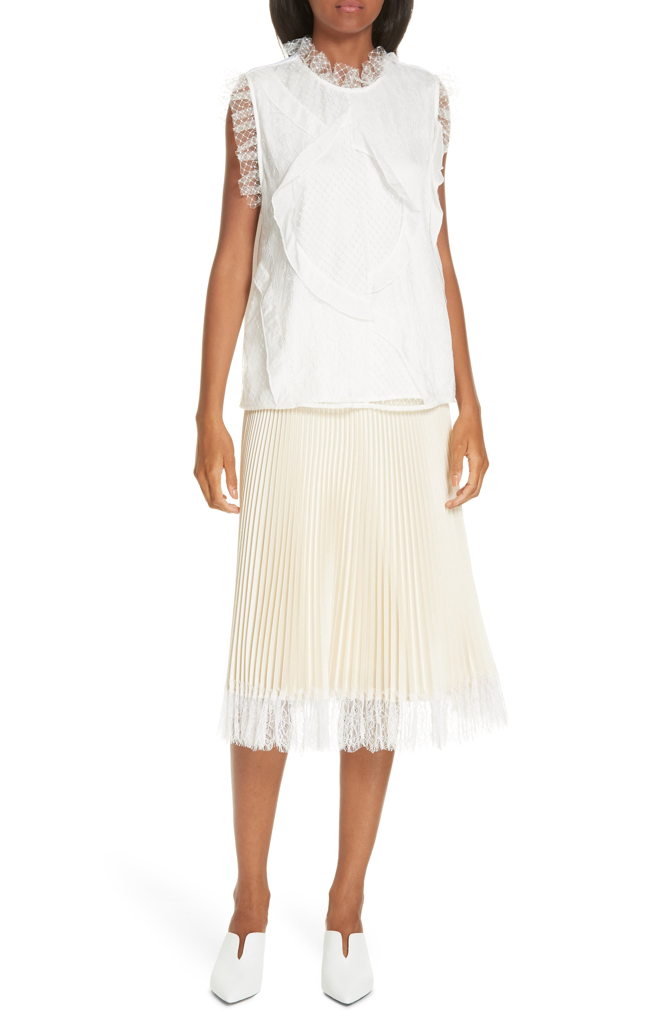 Pleated Metallic Lace Trim Skirt,                             Alternate thumbnail 7, color,                             CHAMPAGNE
