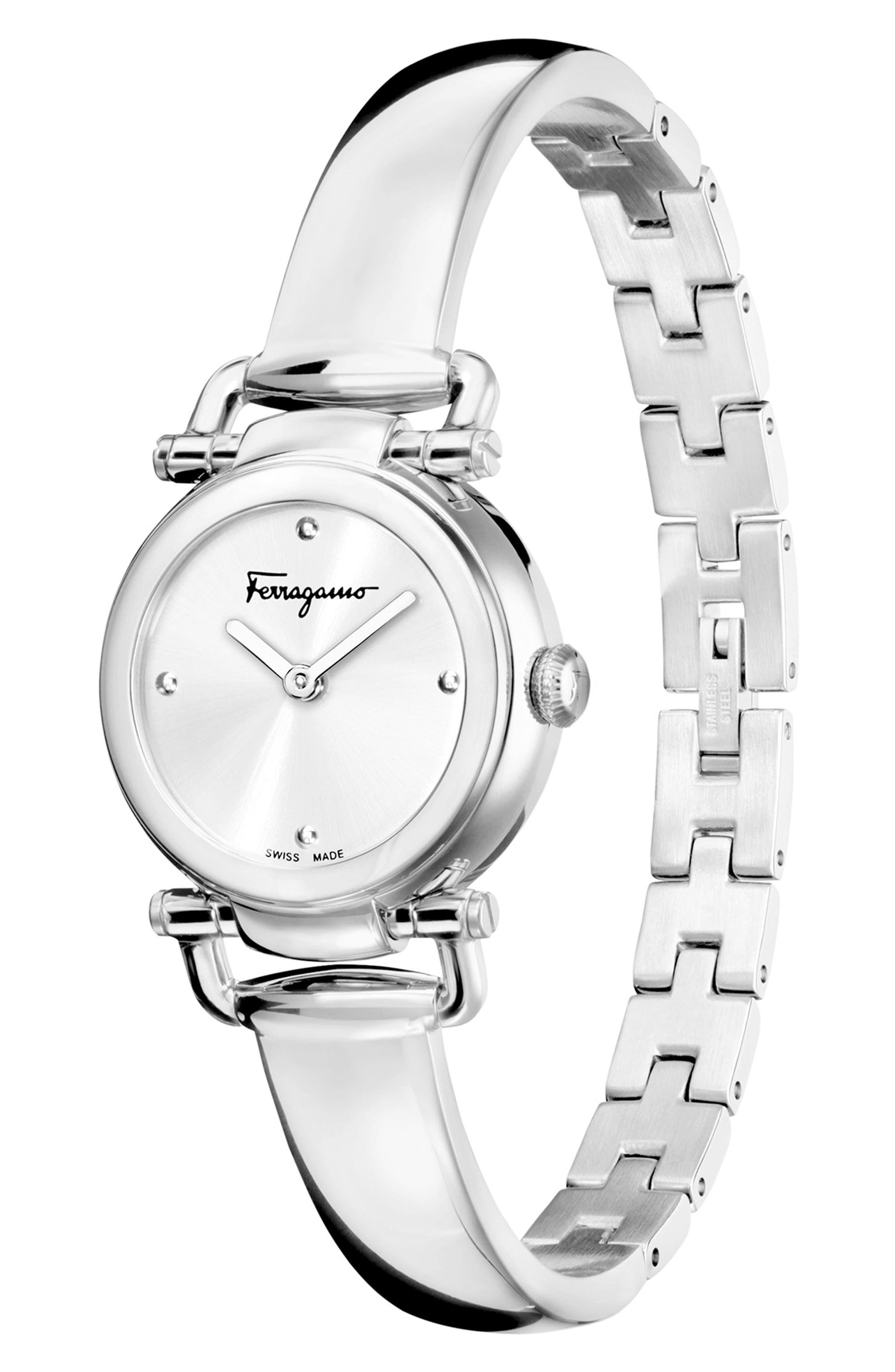 Gancino Bangle Watch, 26mm,                             Alternate thumbnail 4, color,                             SILVER