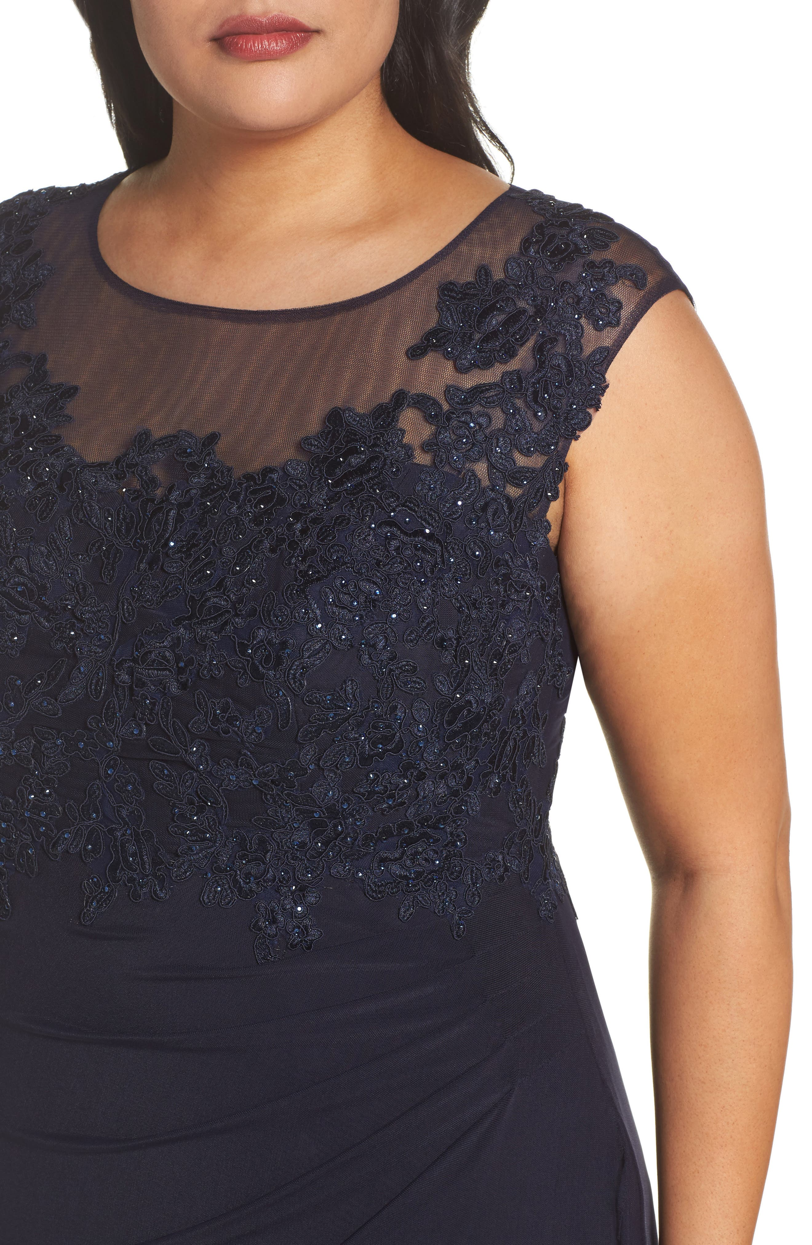 Sequin Embroidered A-Line Gown,                             Alternate thumbnail 4, color,                             411
