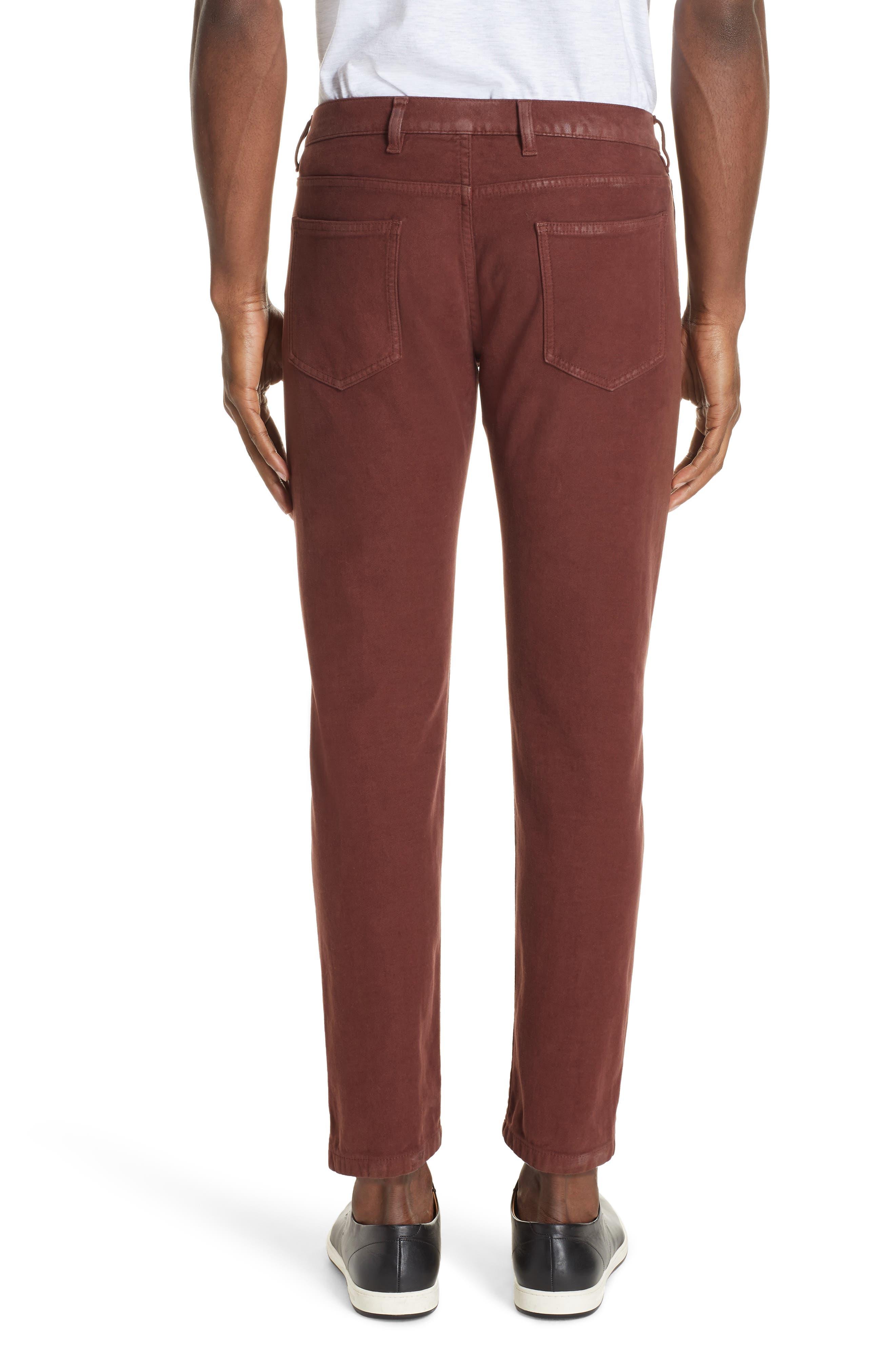 Slim Fit Stretch Cotton Five Pocket Trousers,                             Alternate thumbnail 2, color,                             OCHRE