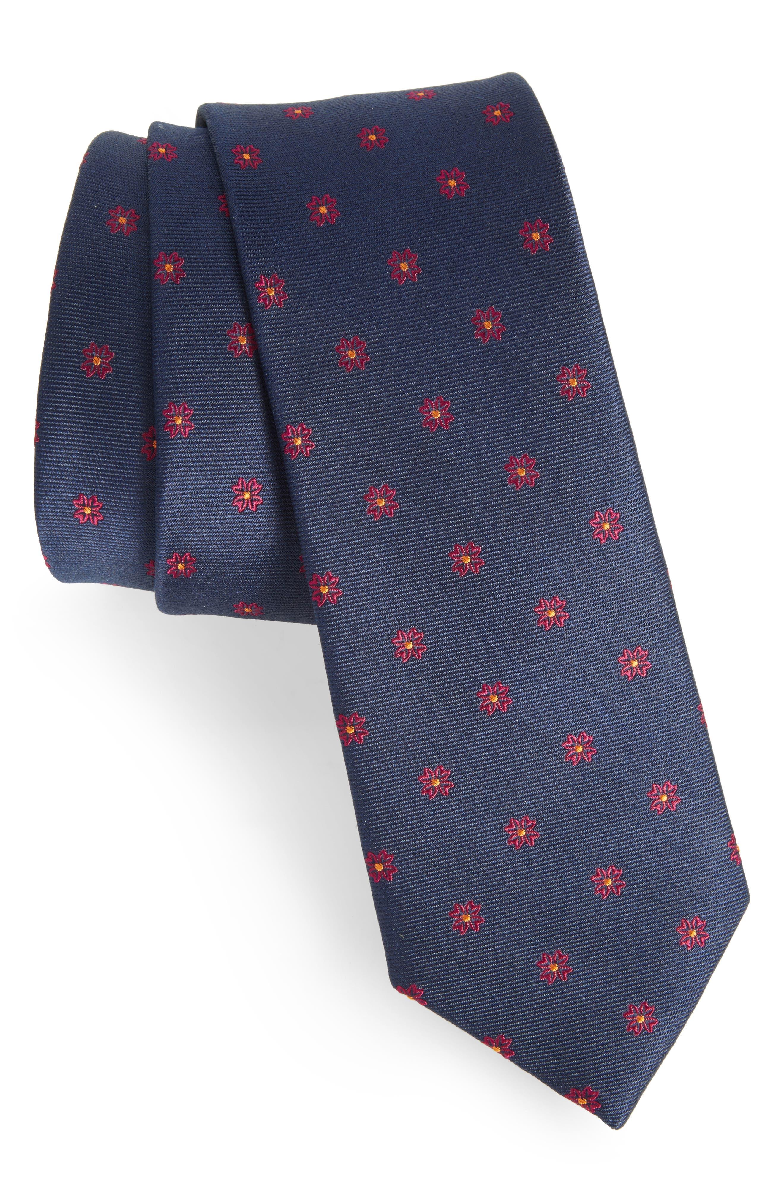 Floral Span Medallion Silk Tie,                             Main thumbnail 2, color,