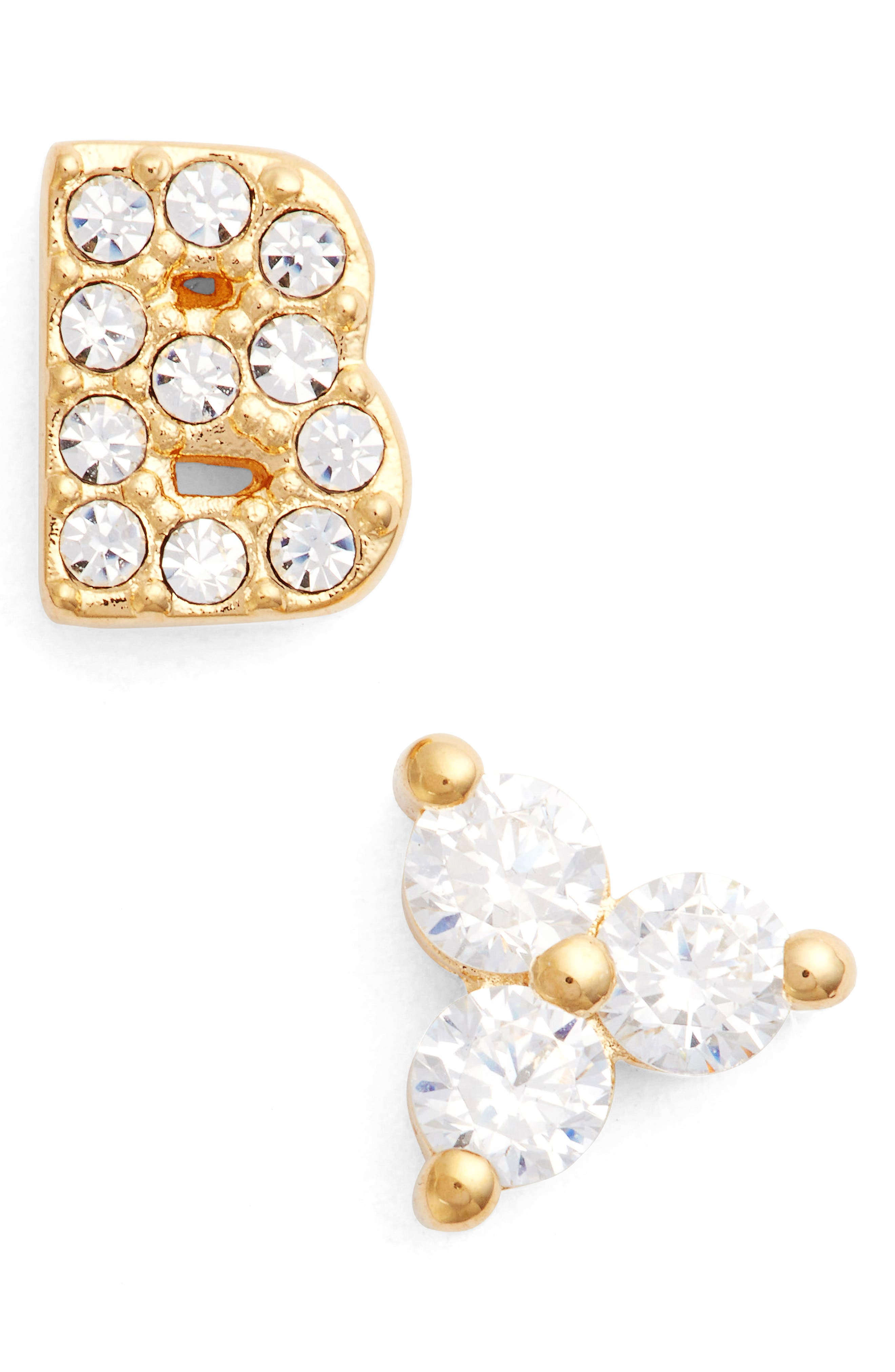 Initial Mismatched Stud Earrings,                             Main thumbnail 1, color,                             GOLD - B