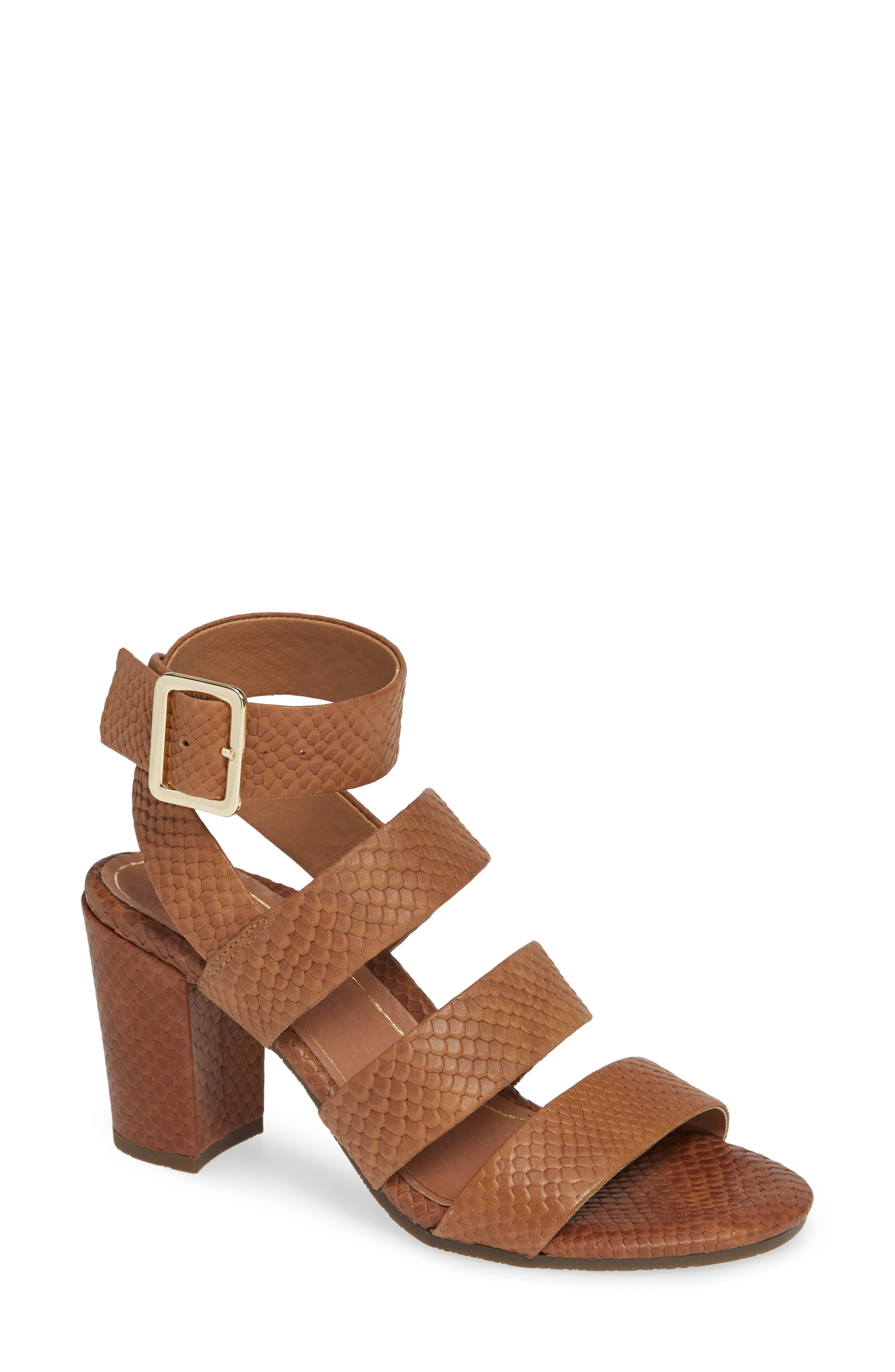Blaire Block Heel Sandal,                             Main thumbnail 1, color,                             BROWN SNAKE EMBOSSED LEATHER
