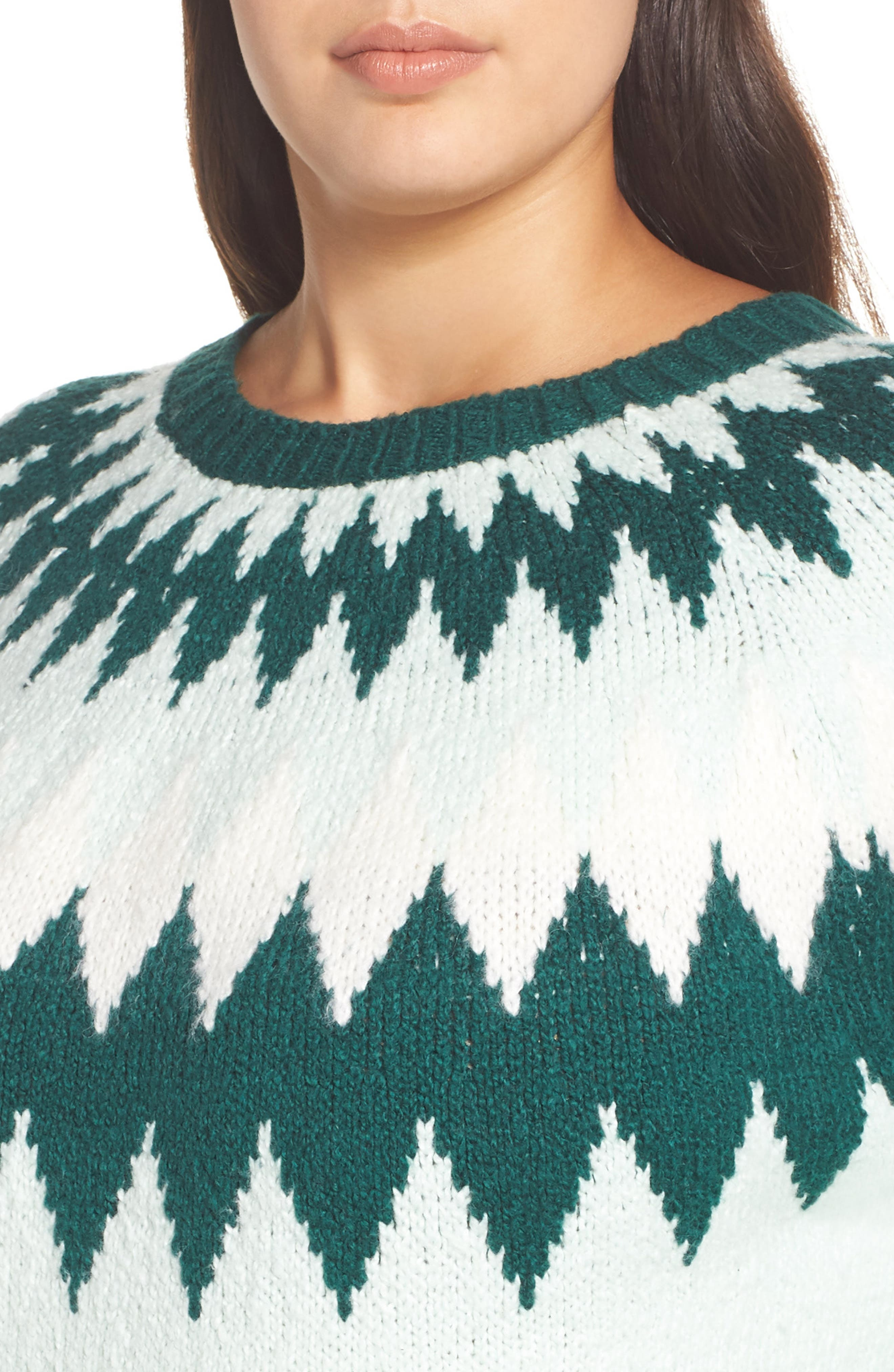 Cozy Ski Sweater,                             Alternate thumbnail 4, color,                             GREEN PLACID FAIRISLE