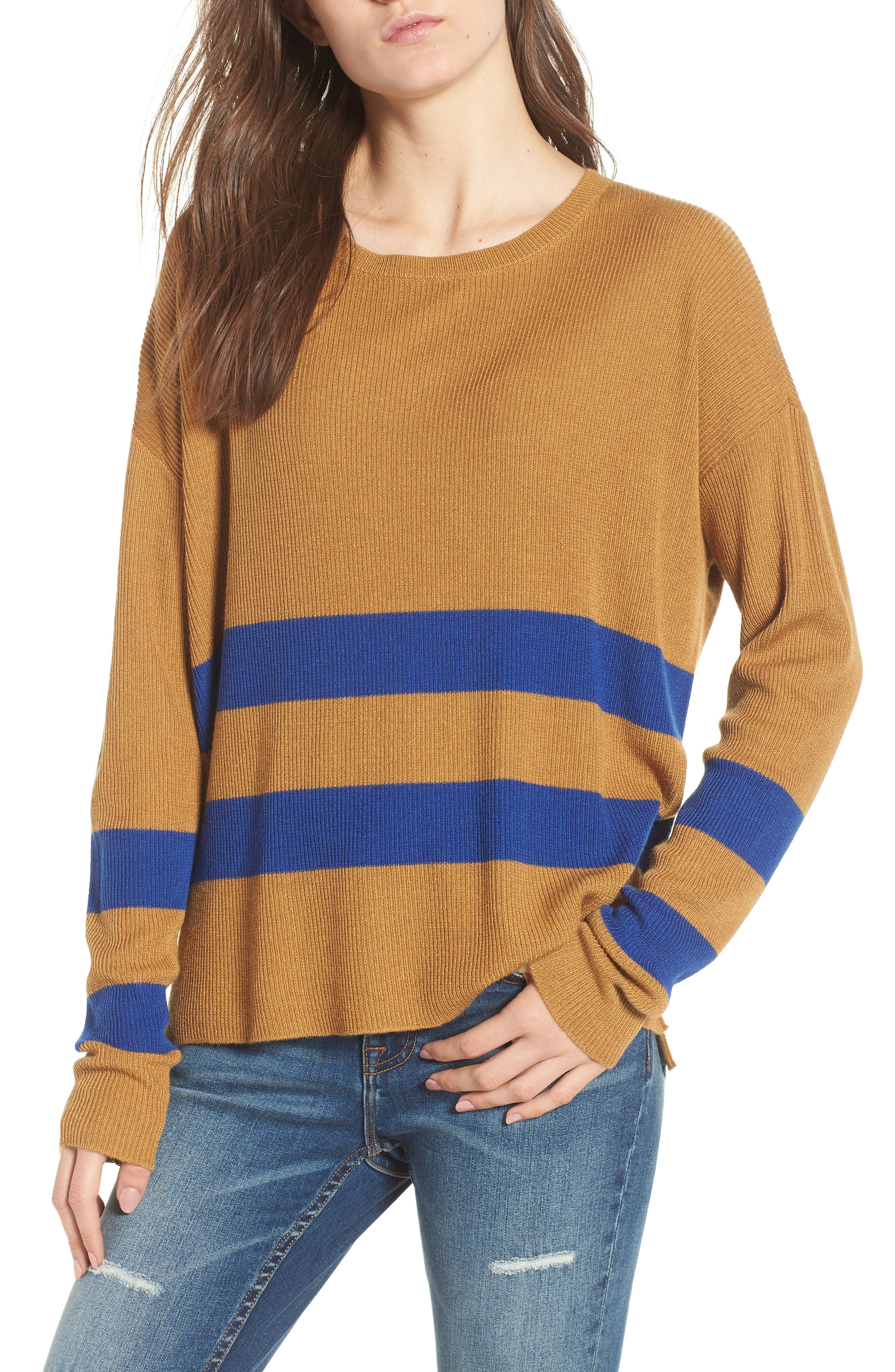 Varsity Stripe Sweater,                         Main,                         color, BROWN CATTAIL KENZIE STRIPE