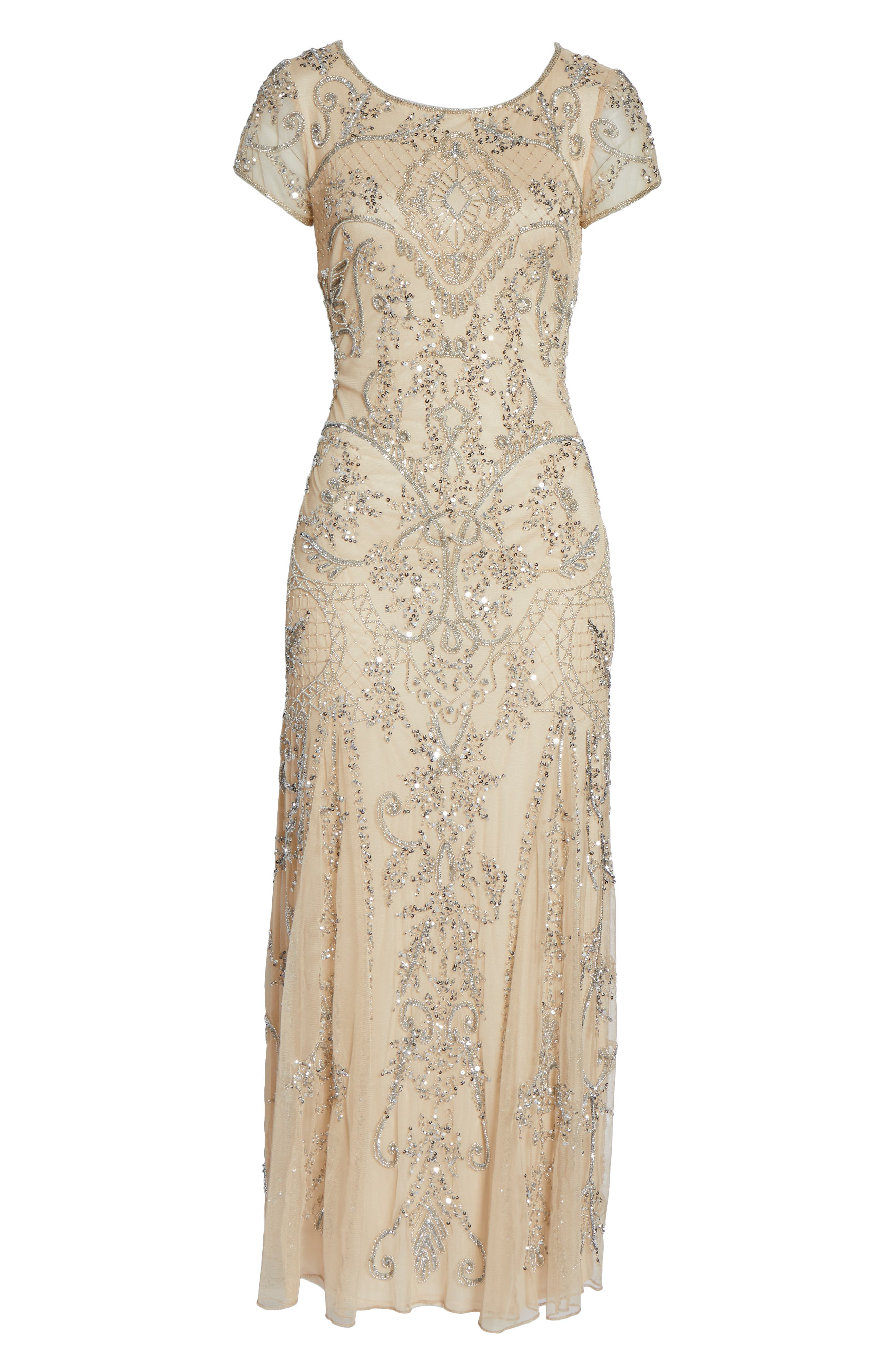 Embellished Mesh Gown,                             Alternate thumbnail 7, color,                             CHAMPAGNE/ SILVER