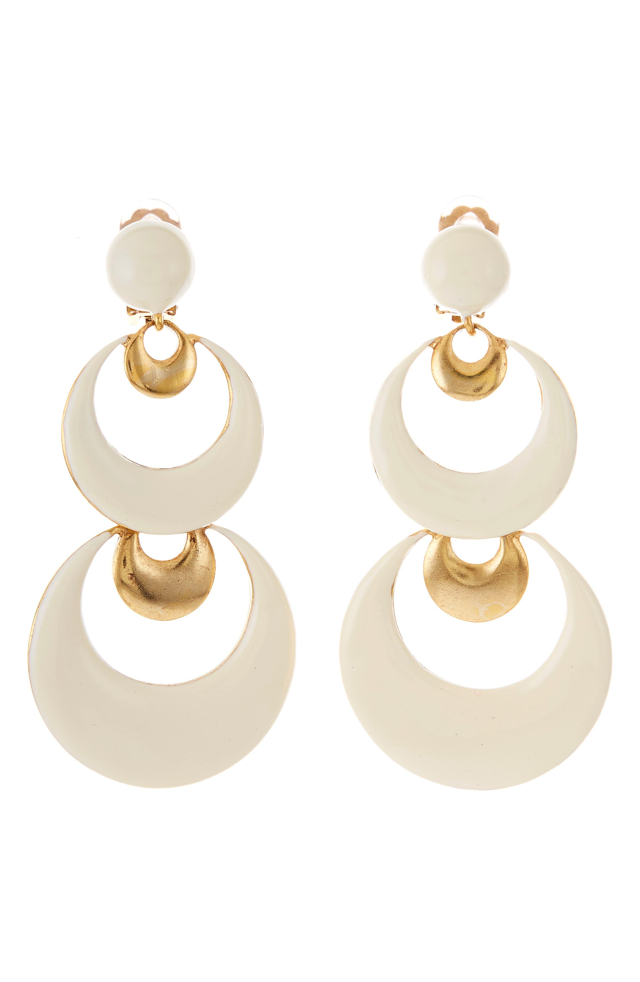 Oscar De La Renta Accessories Large Moon Drop Earrings