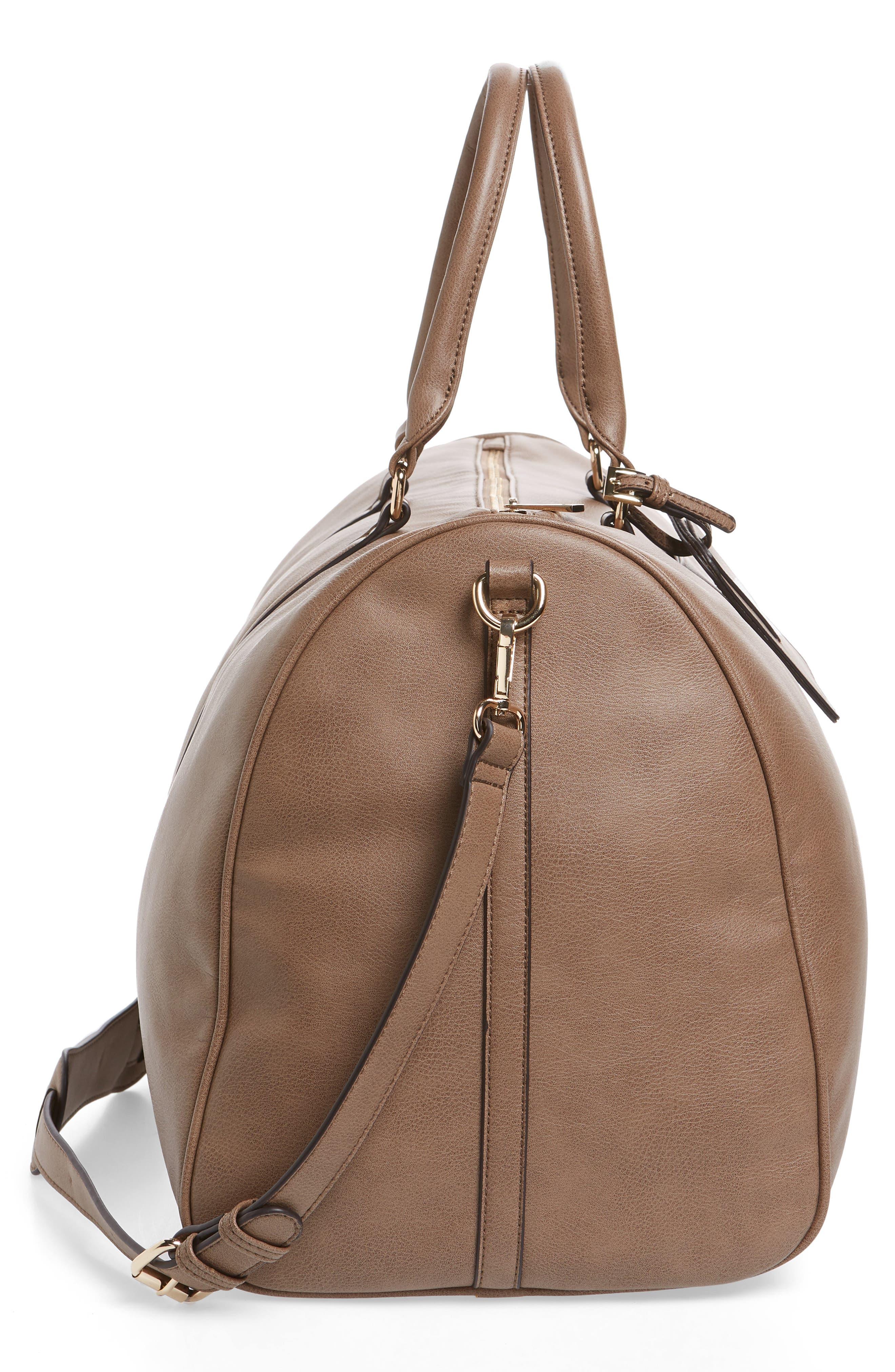 'Lacie' Faux Leather Duffel Bag,                             Alternate thumbnail 5, color,                             022