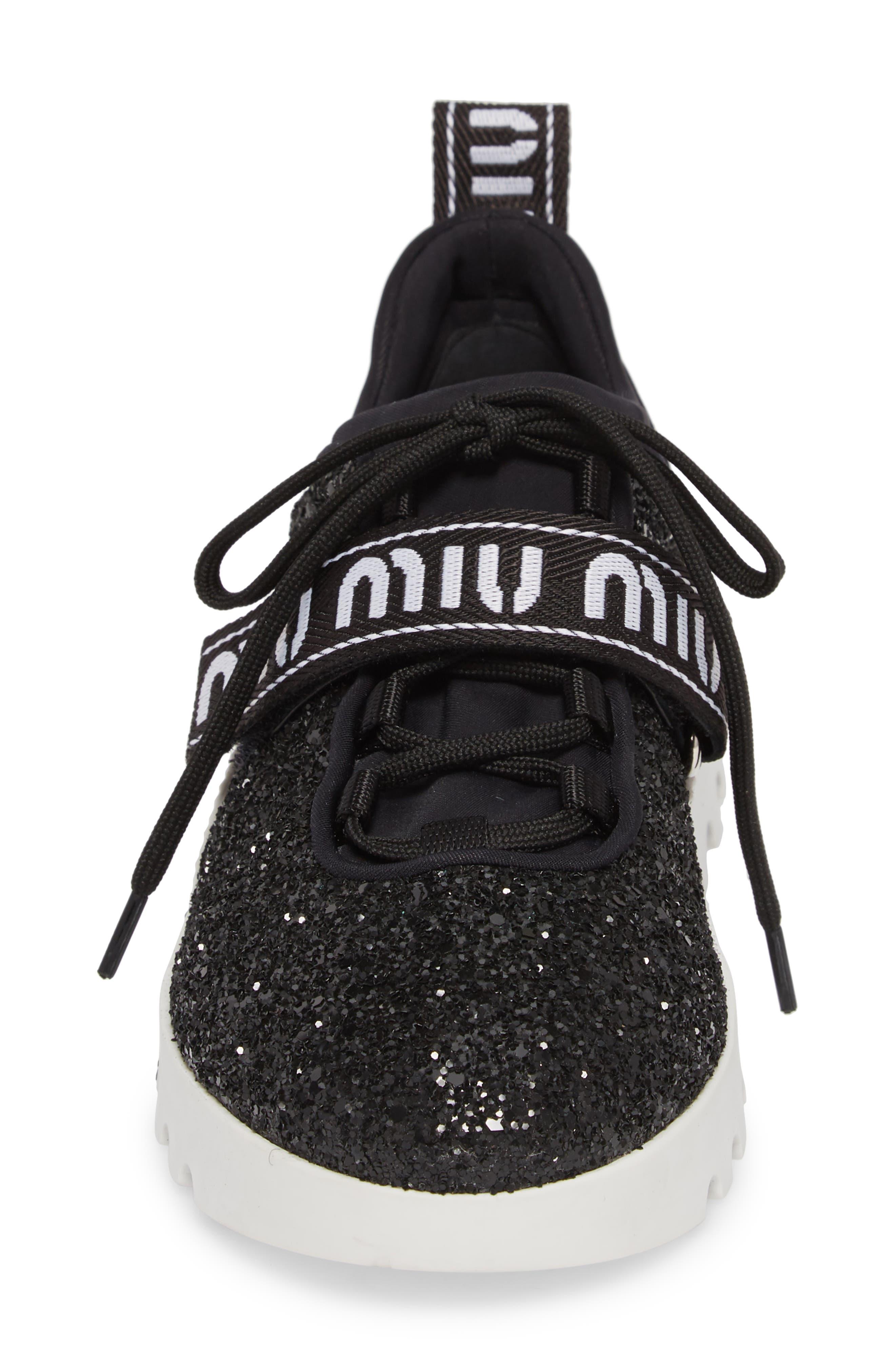Logo Strap Platform Sneaker,                             Alternate thumbnail 4, color,                             BLACK GLITTER