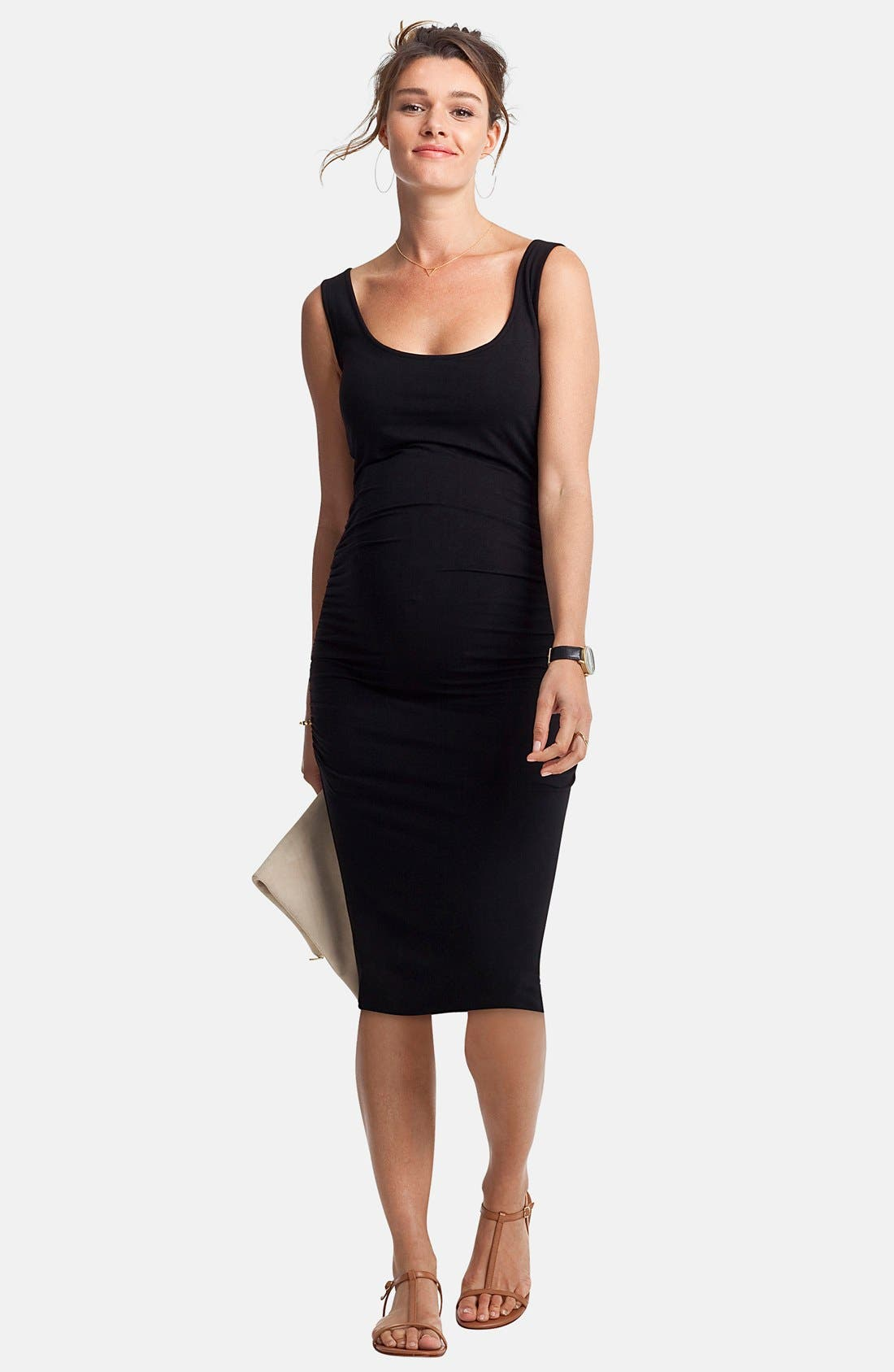 'Ellis' Side Ruched Maternity Tank Dress,                             Alternate thumbnail 2, color,                             001