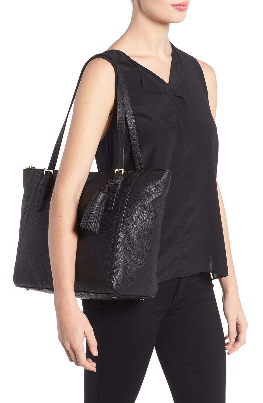orchard street - maya leather tote,                             Alternate thumbnail 7, color,                             001