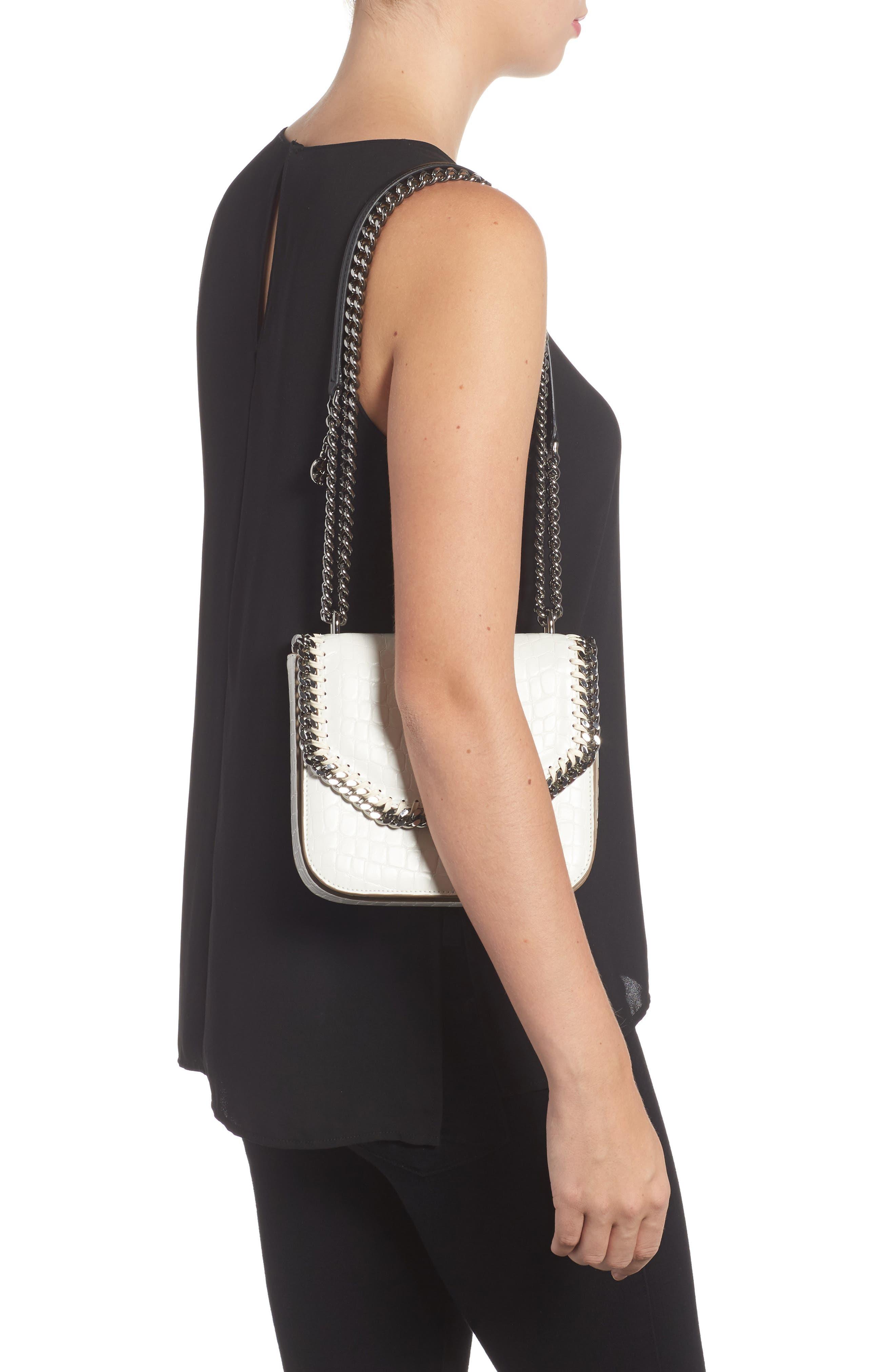 Medium Falabella Box Croc-Embossed Faux Leather Shoulder Bag,                             Alternate thumbnail 2, color,                             102