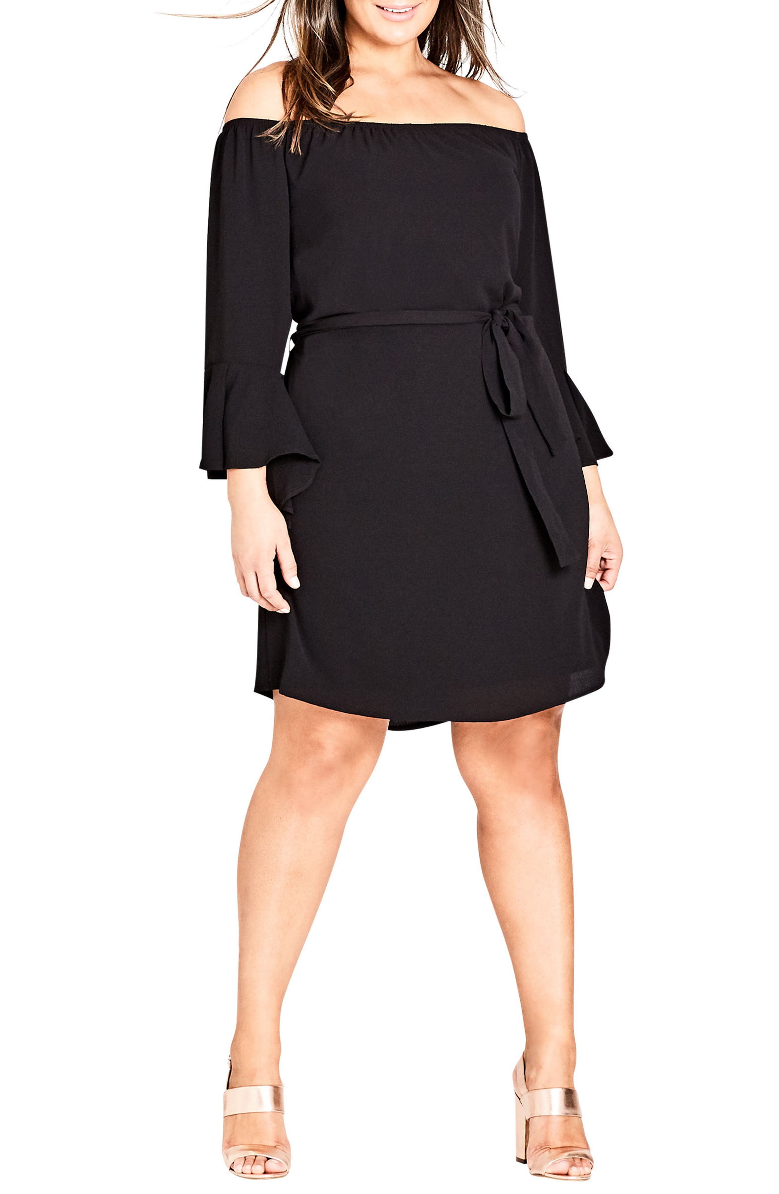 Sweet Ruffle Sleeve Tunic Dress,                         Main,                         color, BLACK