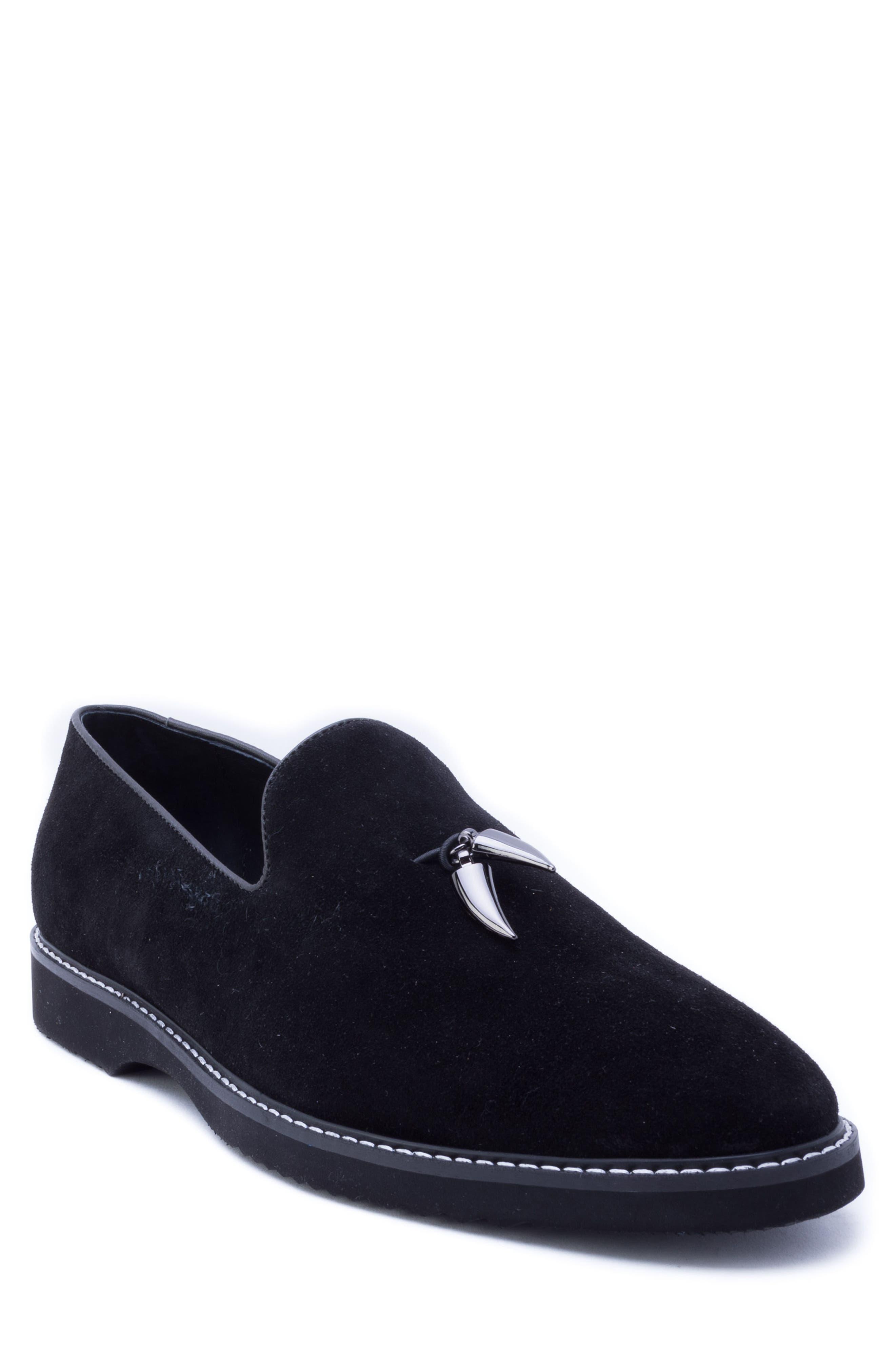 Horn Tassel Loafer,                         Main,                         color, BLACK SUEDE