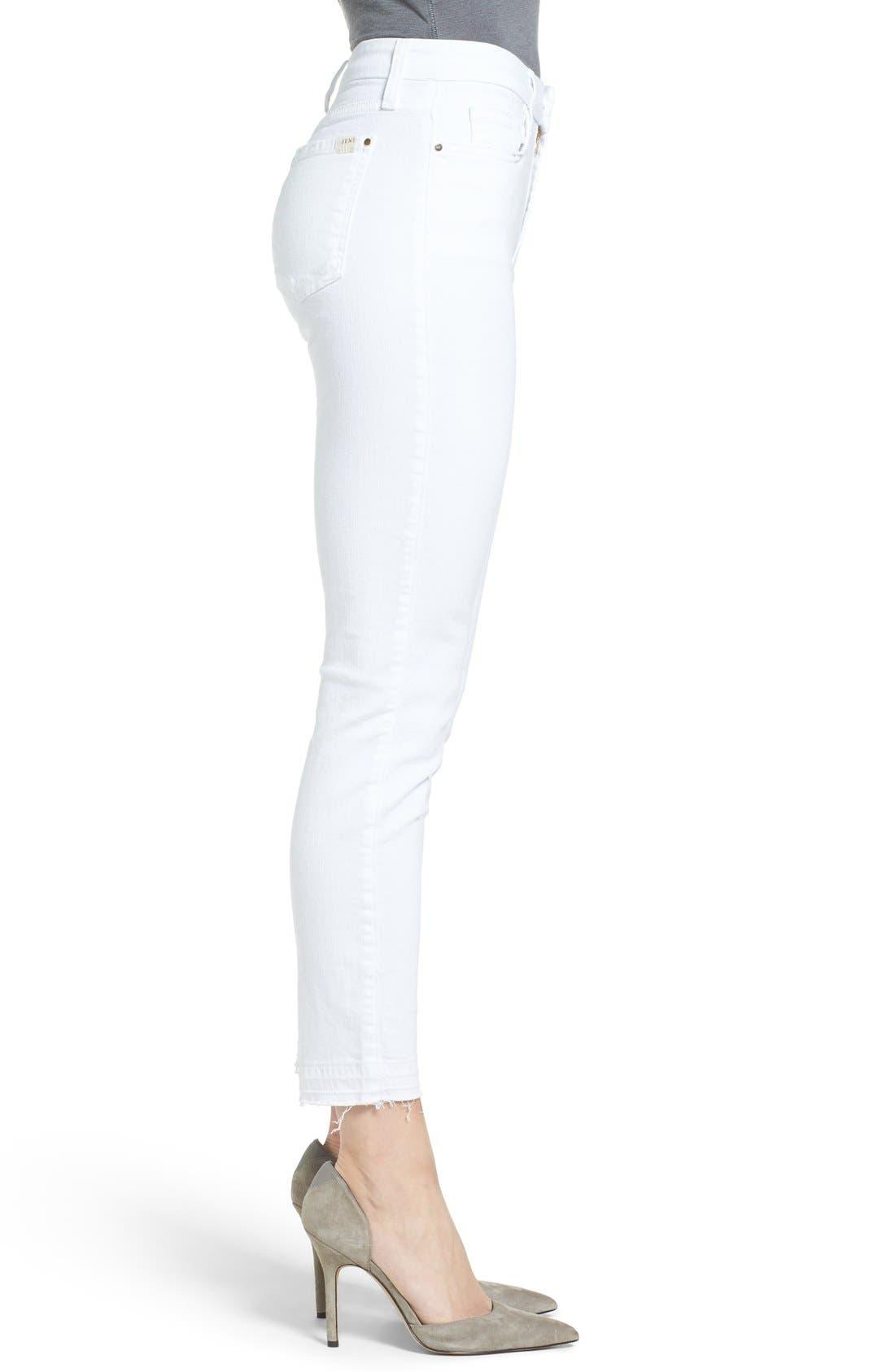 Release Hem Stretch Skinny Ankle Jeans,                             Alternate thumbnail 3, color,                             WHITE DENIM