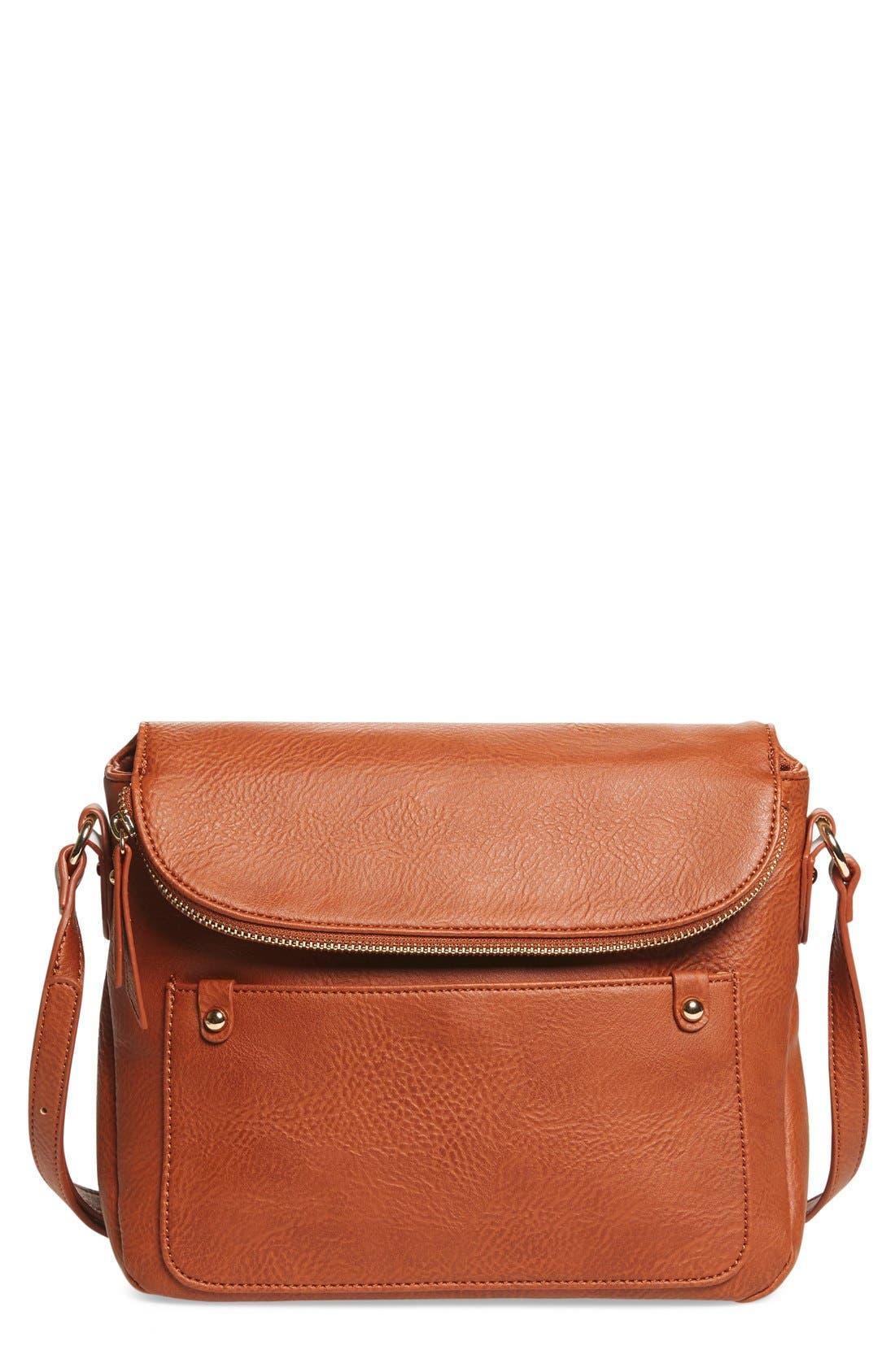 Zip Flap Faux Leather Crossbody Bag,                             Main thumbnail 2, color,