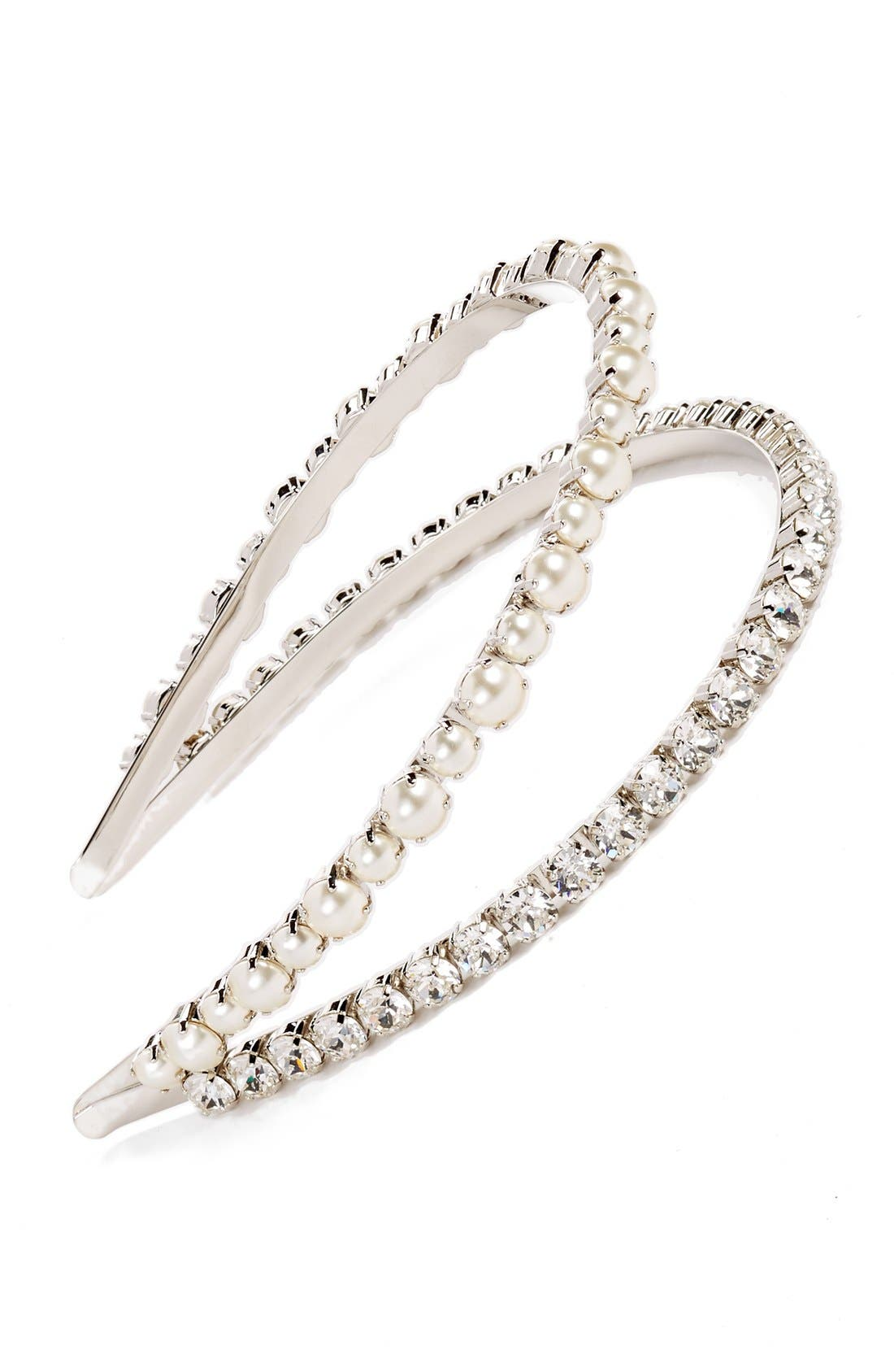 'Classic' Bead & Crystal Double Headband,                             Main thumbnail 1, color,                             CREAM/ CRISTAL