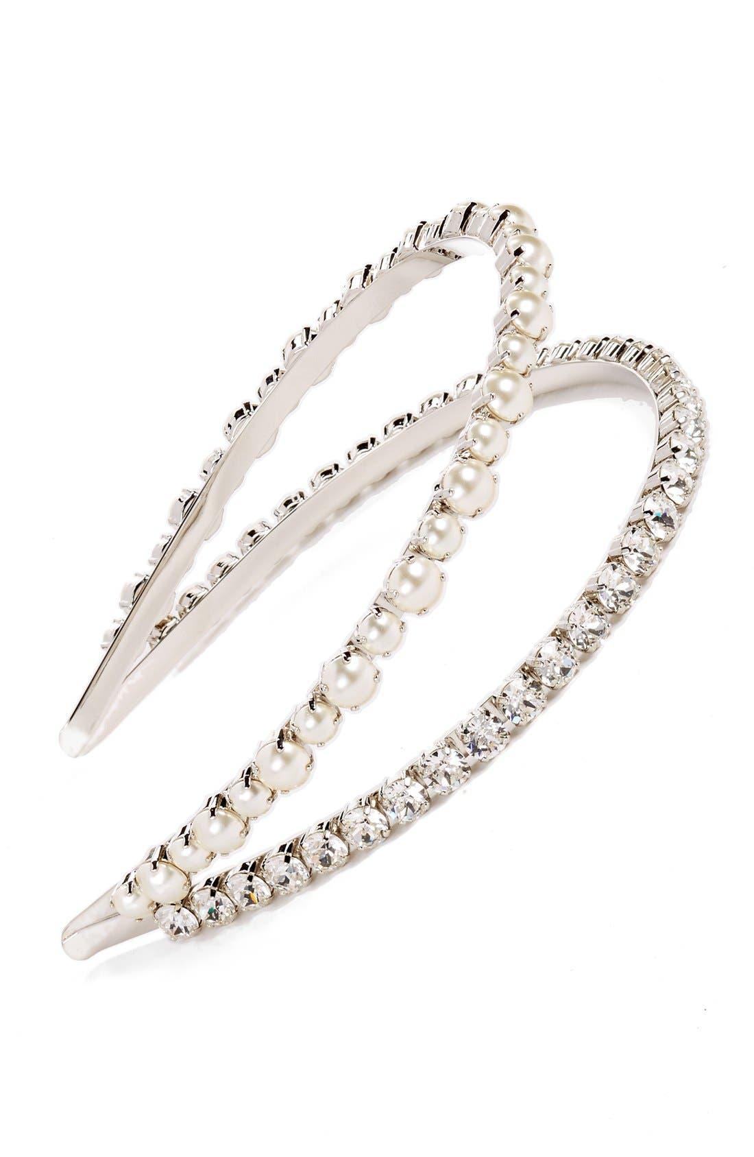 'Classic' Bead & Crystal Double Headband,                         Main,                         color, CREAM/ CRISTAL