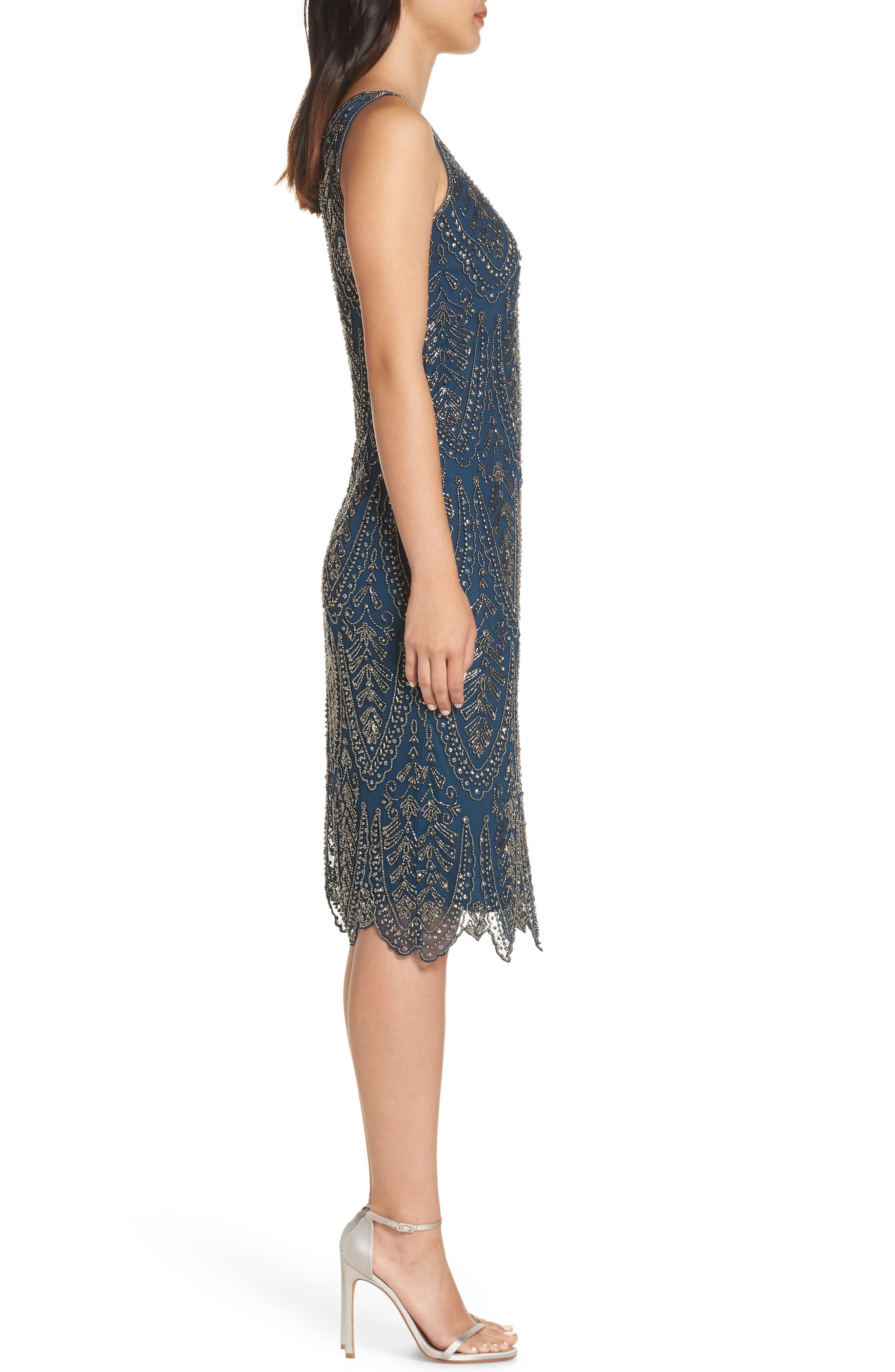 Middy Zigzag Sheath Dress,                             Alternate thumbnail 3, color,                             PEACOCK