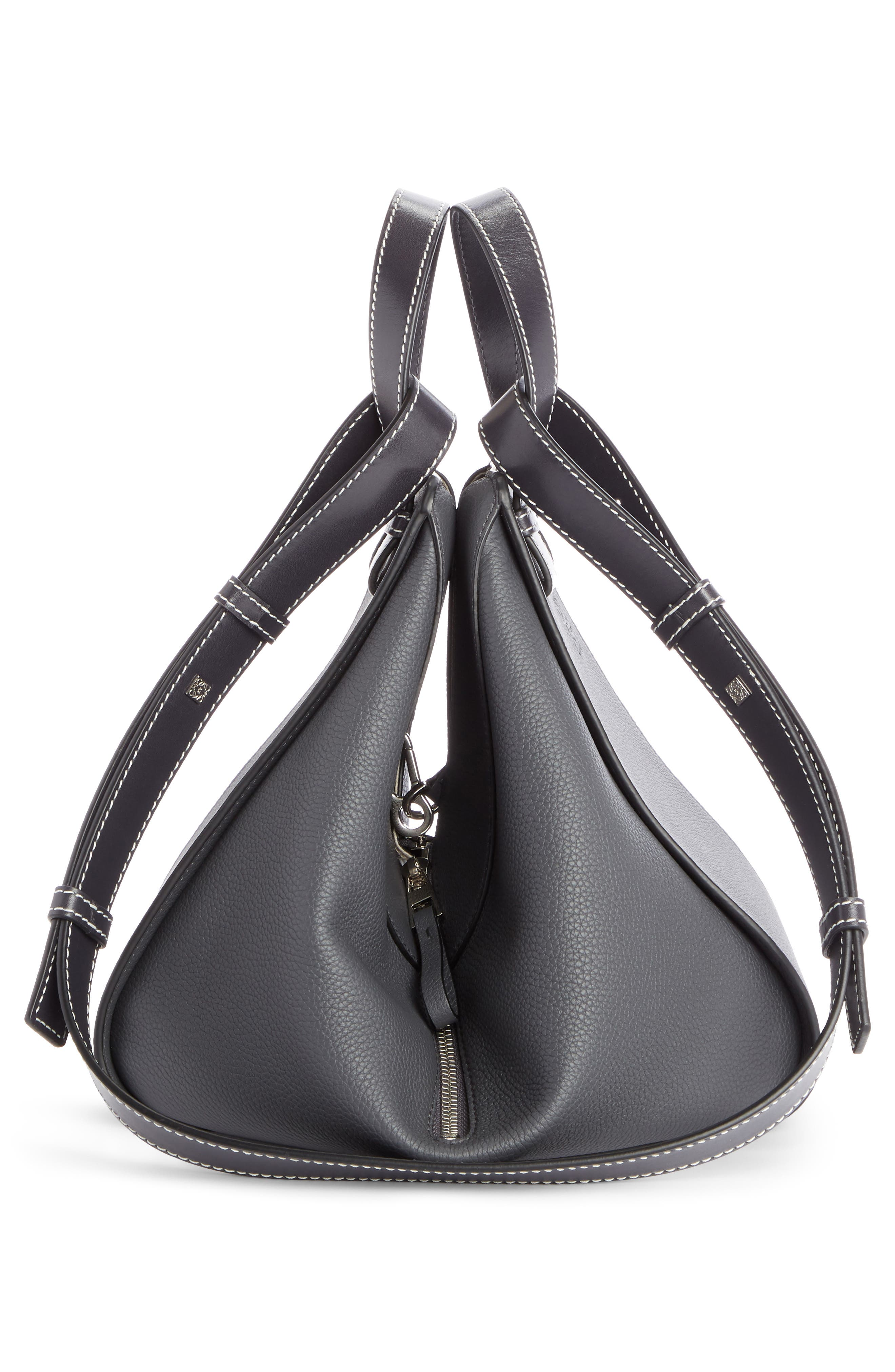 Small Hammock Pebbled Leather Hobo,                             Alternate thumbnail 3, color,                             ANTHRACITE
