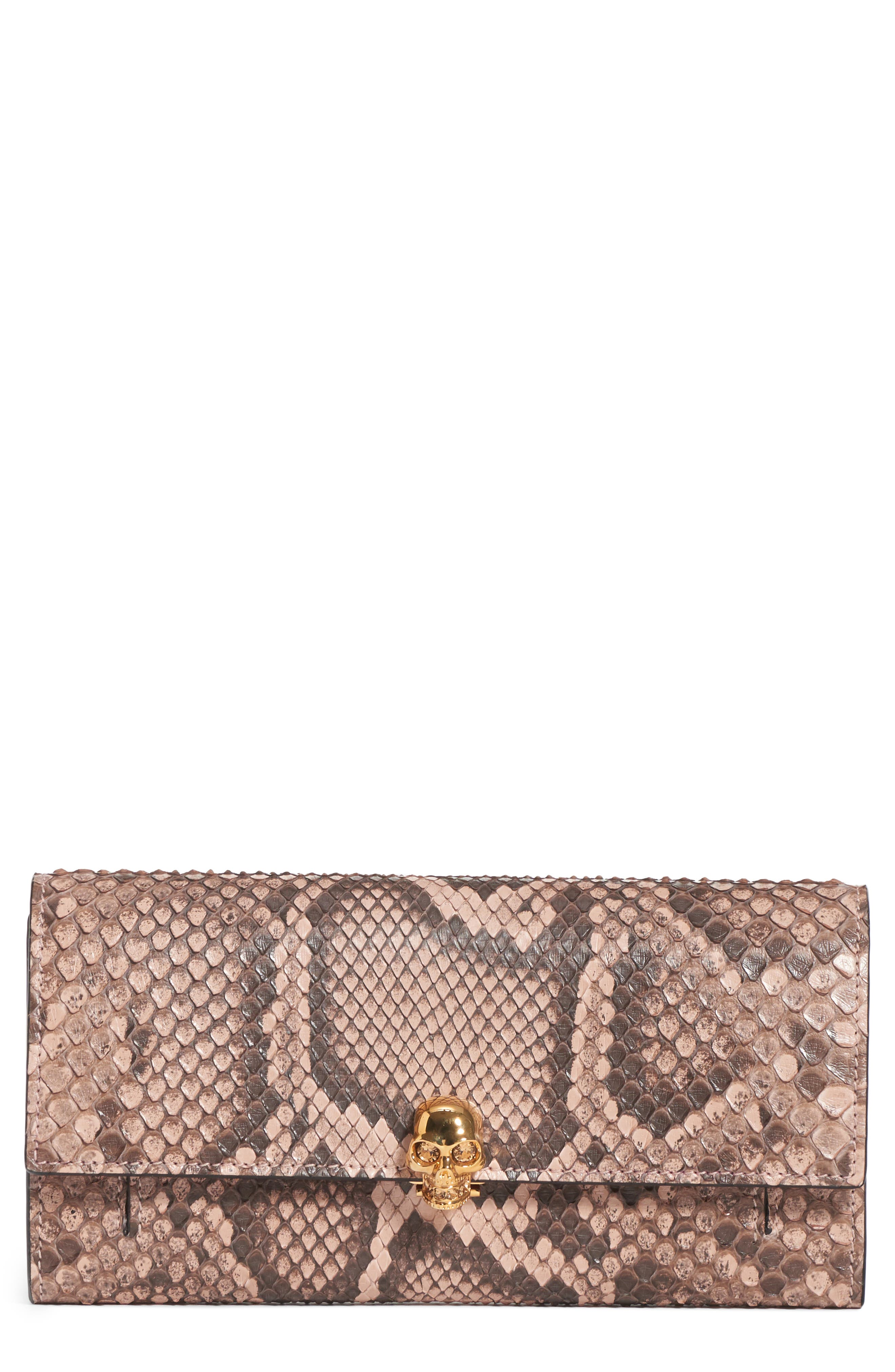 Genuine Python Wallet on a Chain,                             Main thumbnail 1, color,                             NUDE/ BROWN