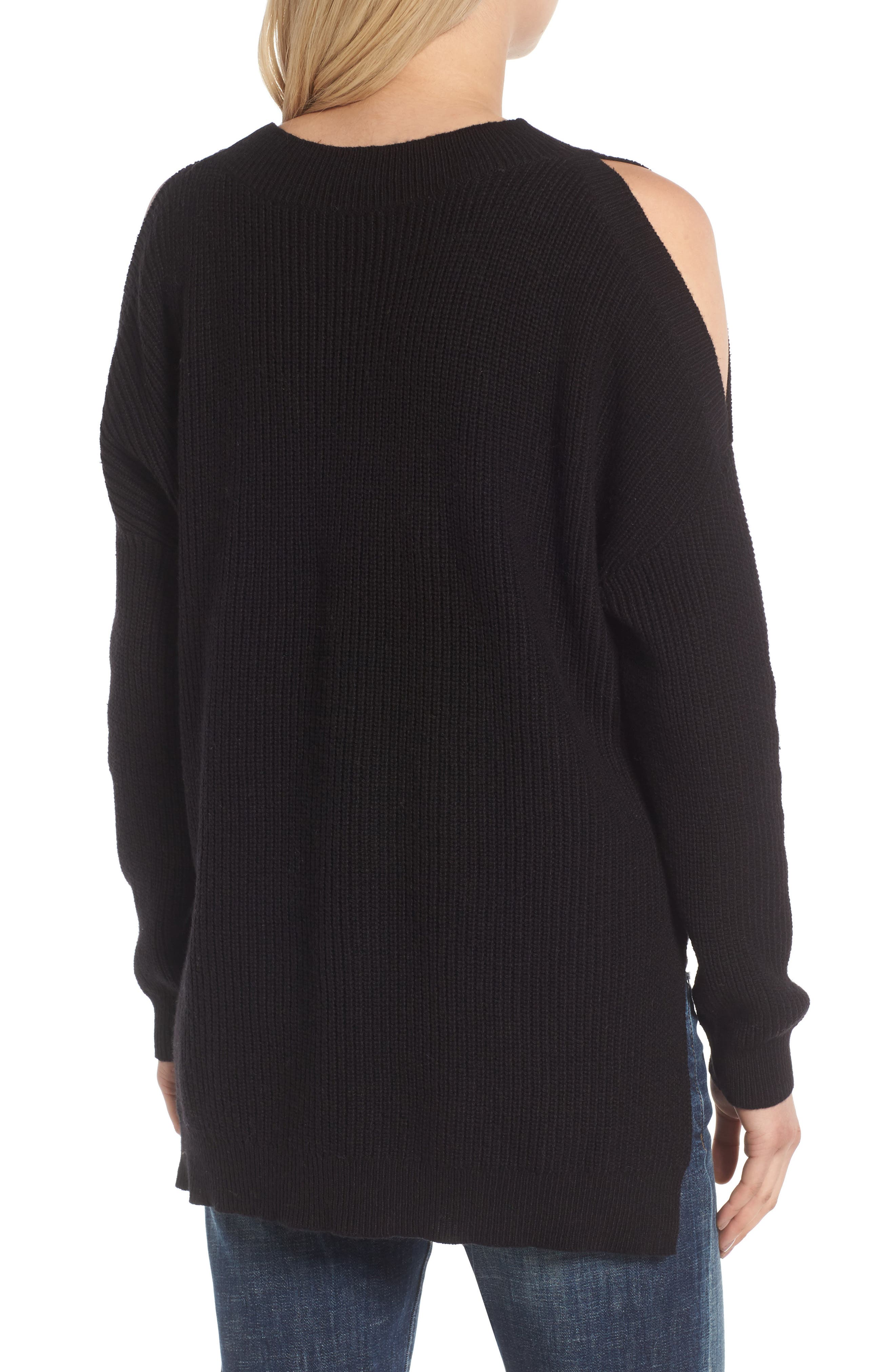 Cold Shoulder Tunic Sweater,                             Alternate thumbnail 2, color,                             001