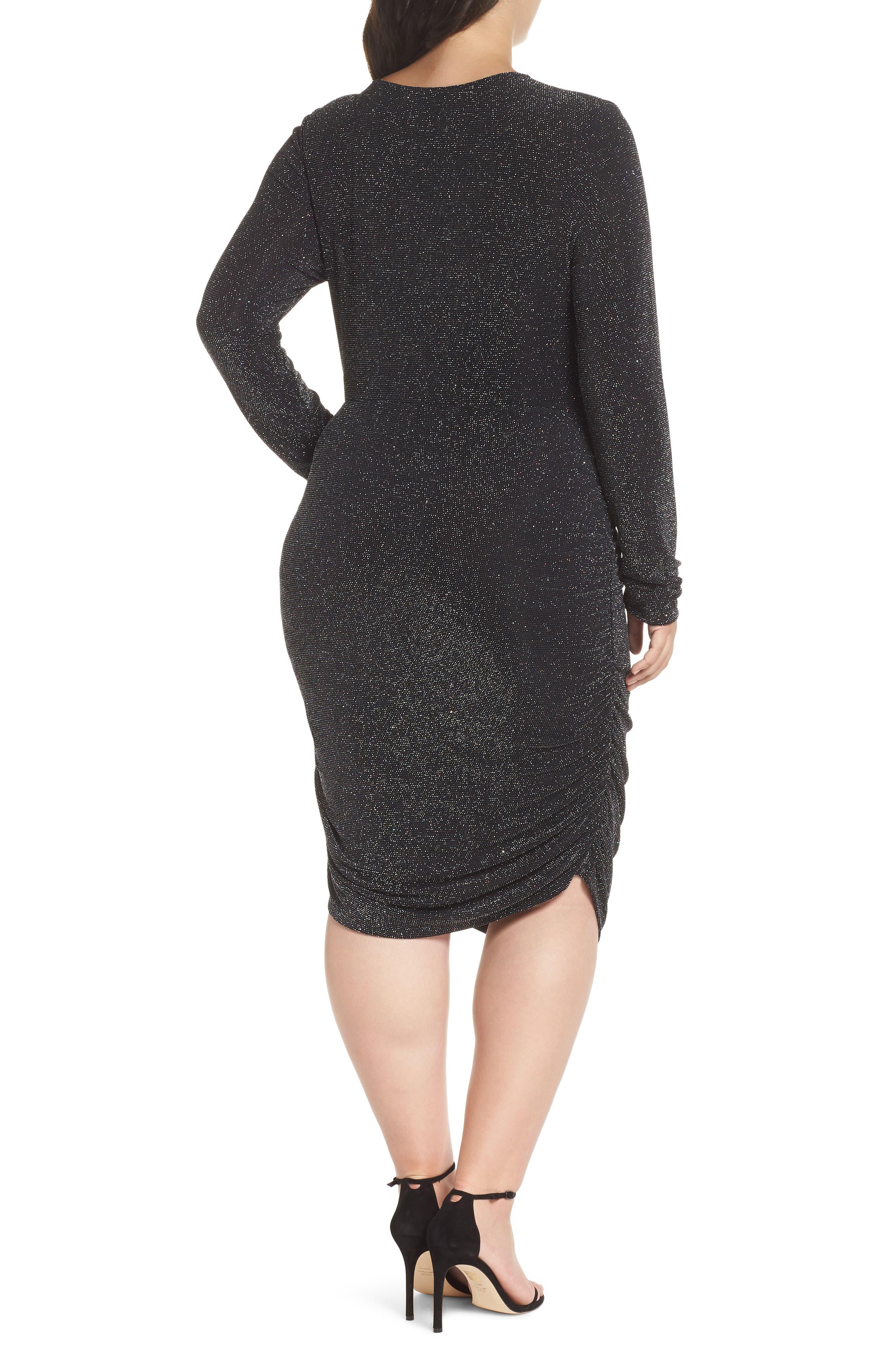 Metallic Body-Con Dress,                             Alternate thumbnail 2, color,                             BLACK MULTI GLITTER