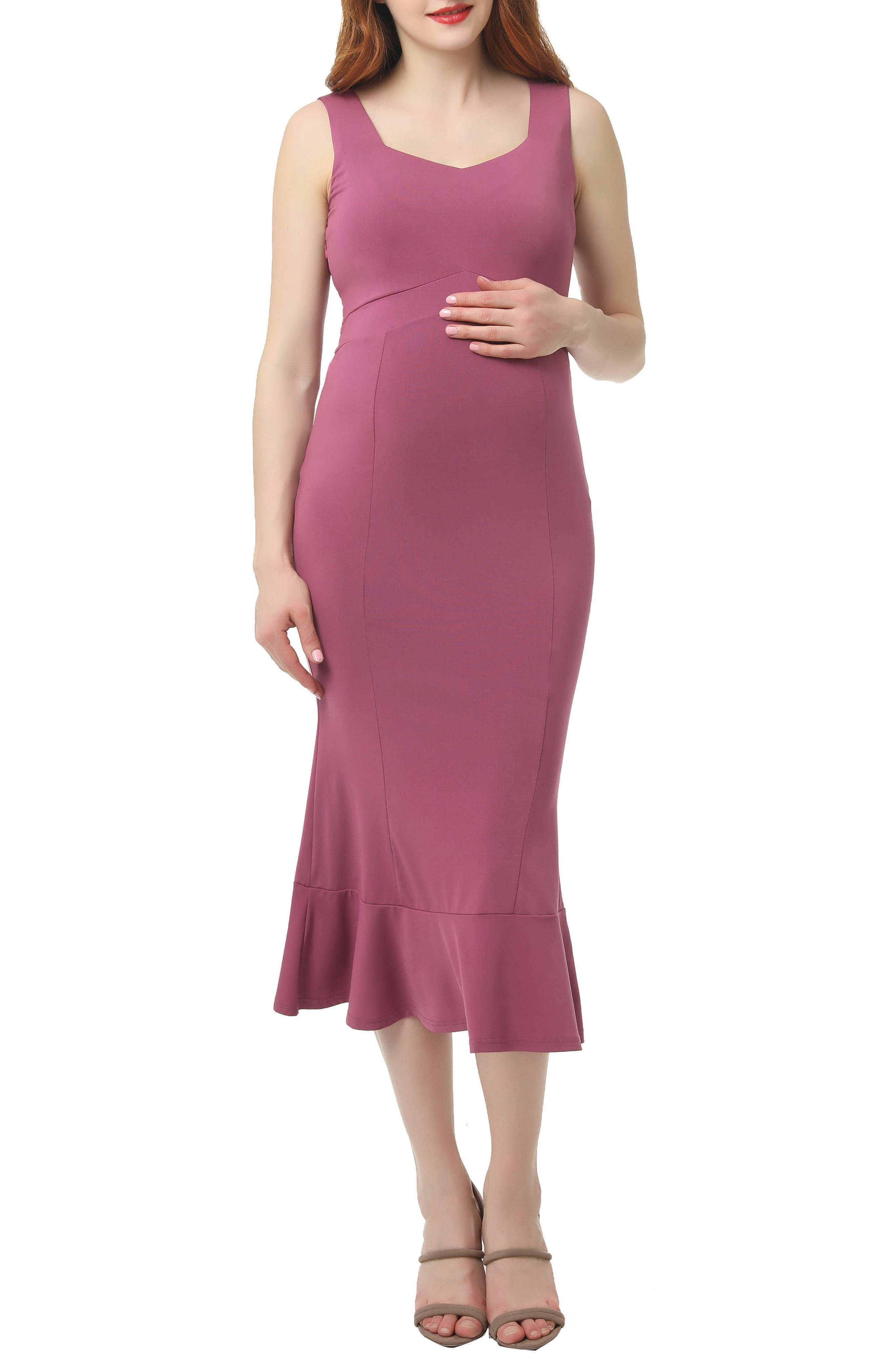 Kimi And Kai Kora Maternity Mermaid Midi Dress, Pink