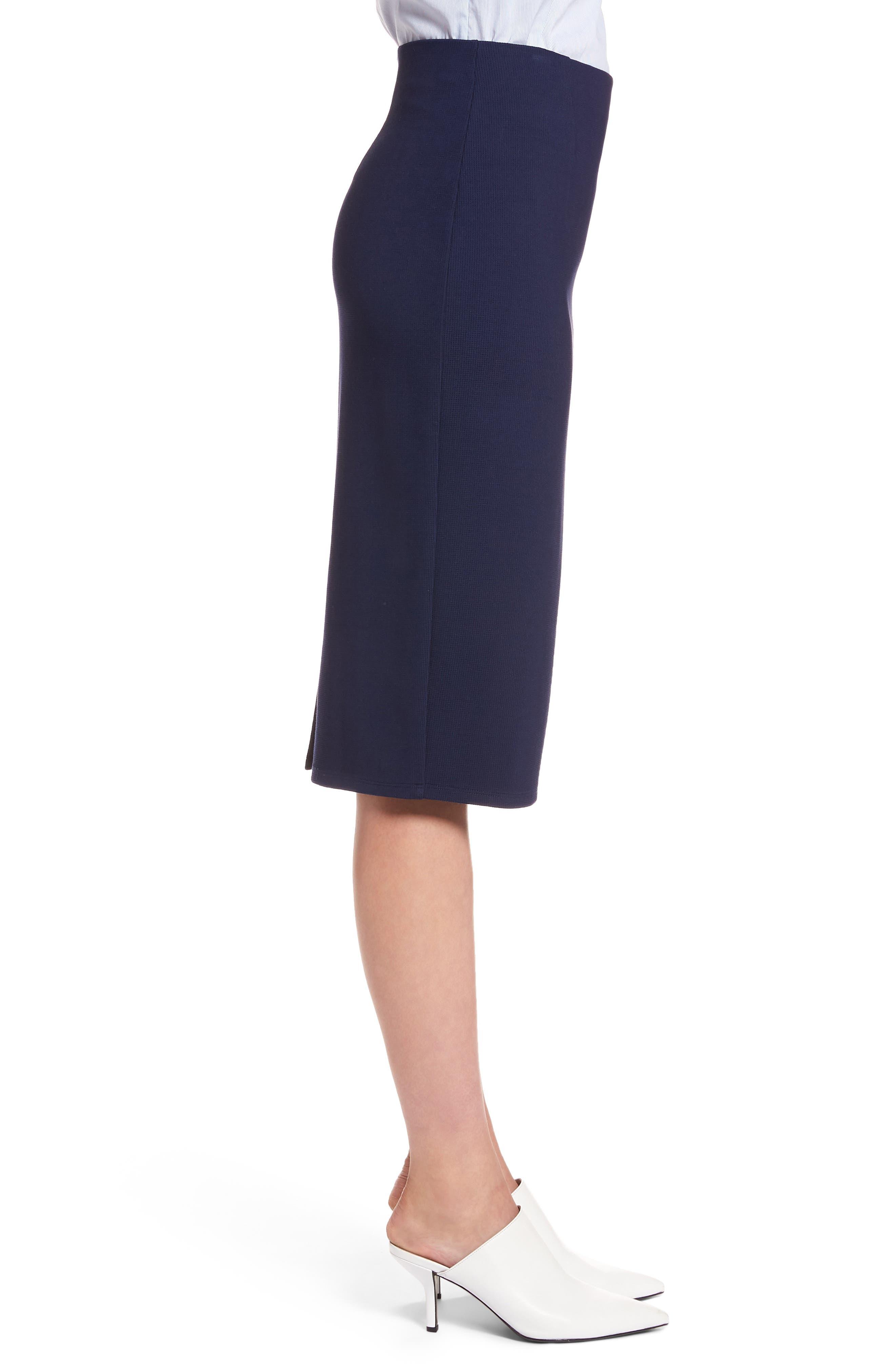 Textured Ponte Pencil Skirt,                             Alternate thumbnail 3, color,                             410