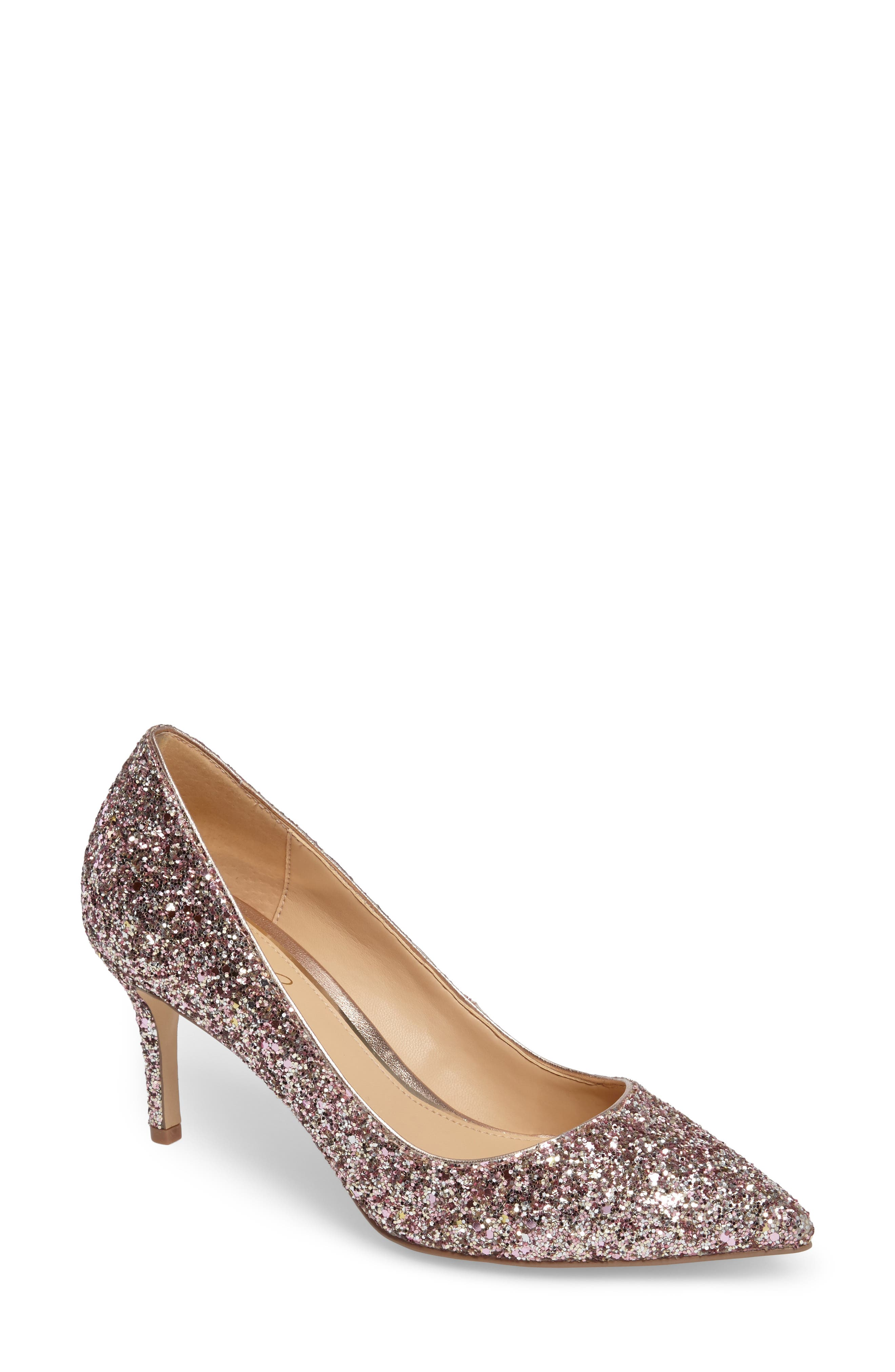 Lyla Glitter Pointy Toe Pump,                             Main thumbnail 1, color,                             ROSE GOLD