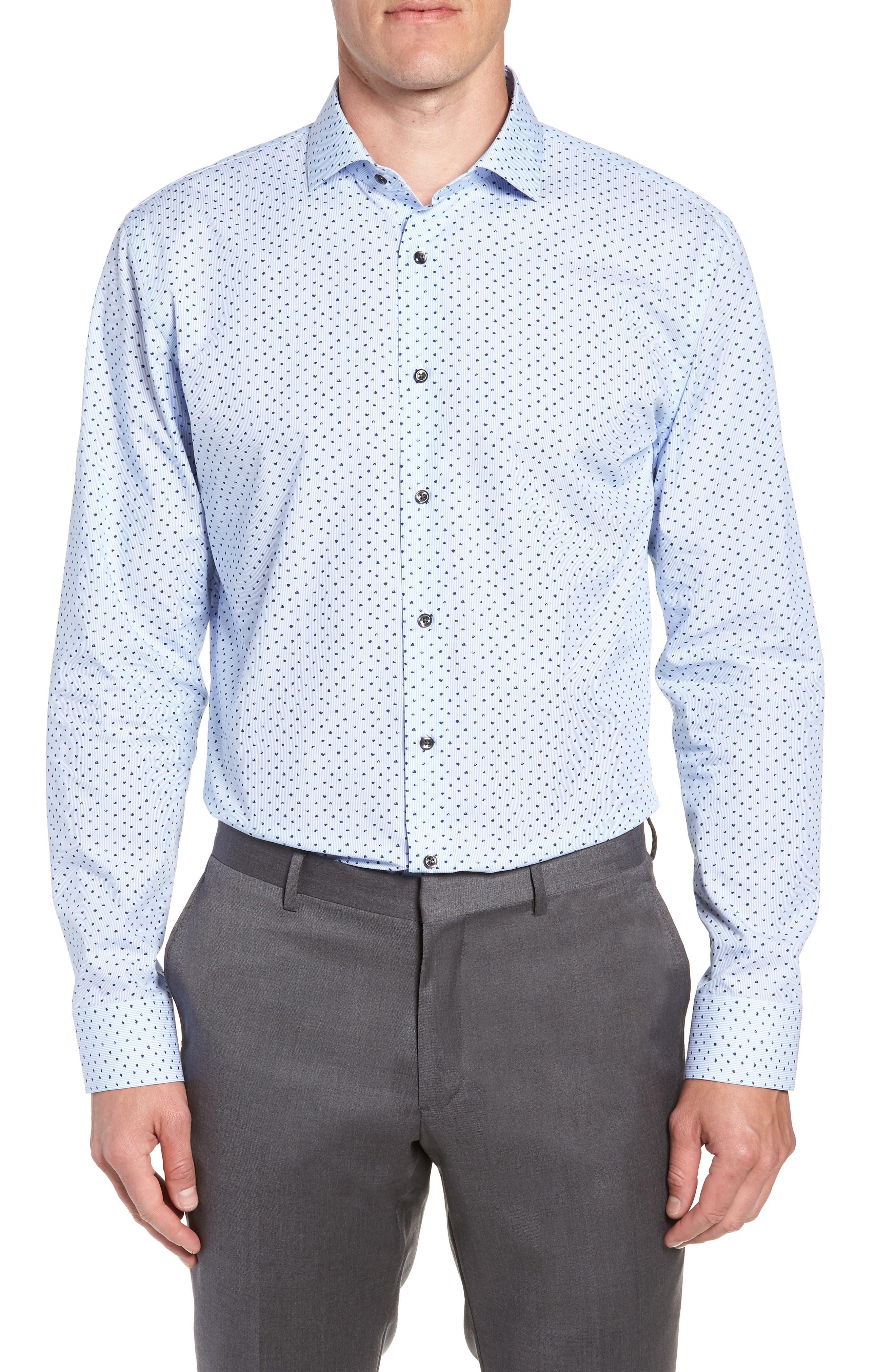 Trim Fit Stripe Dot Dress Shirt,                         Main,                         color, BLUE CORNFLOWER