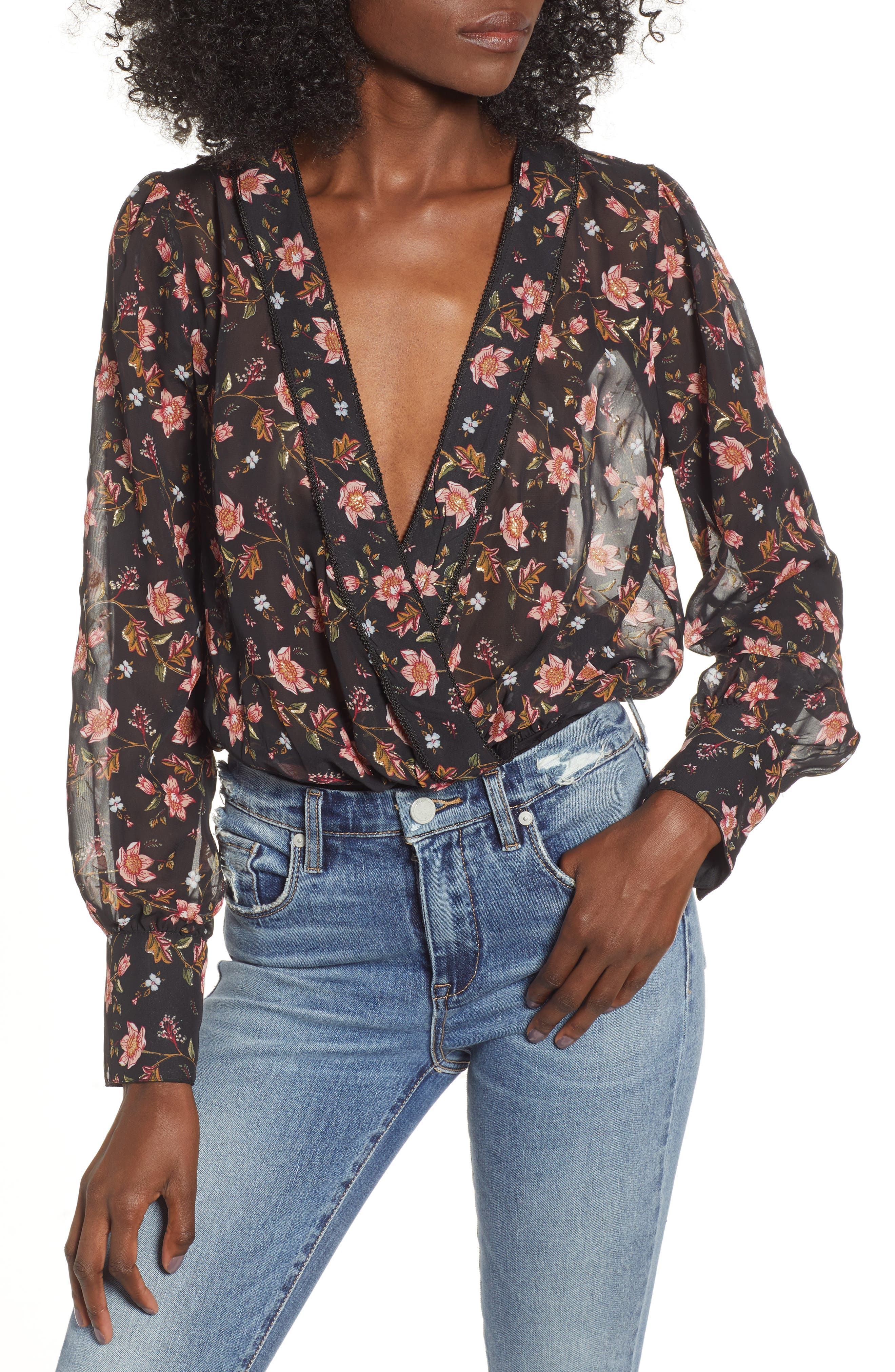 JOA Glitter Detail Floral Print Bodysuit in Metallic Floral