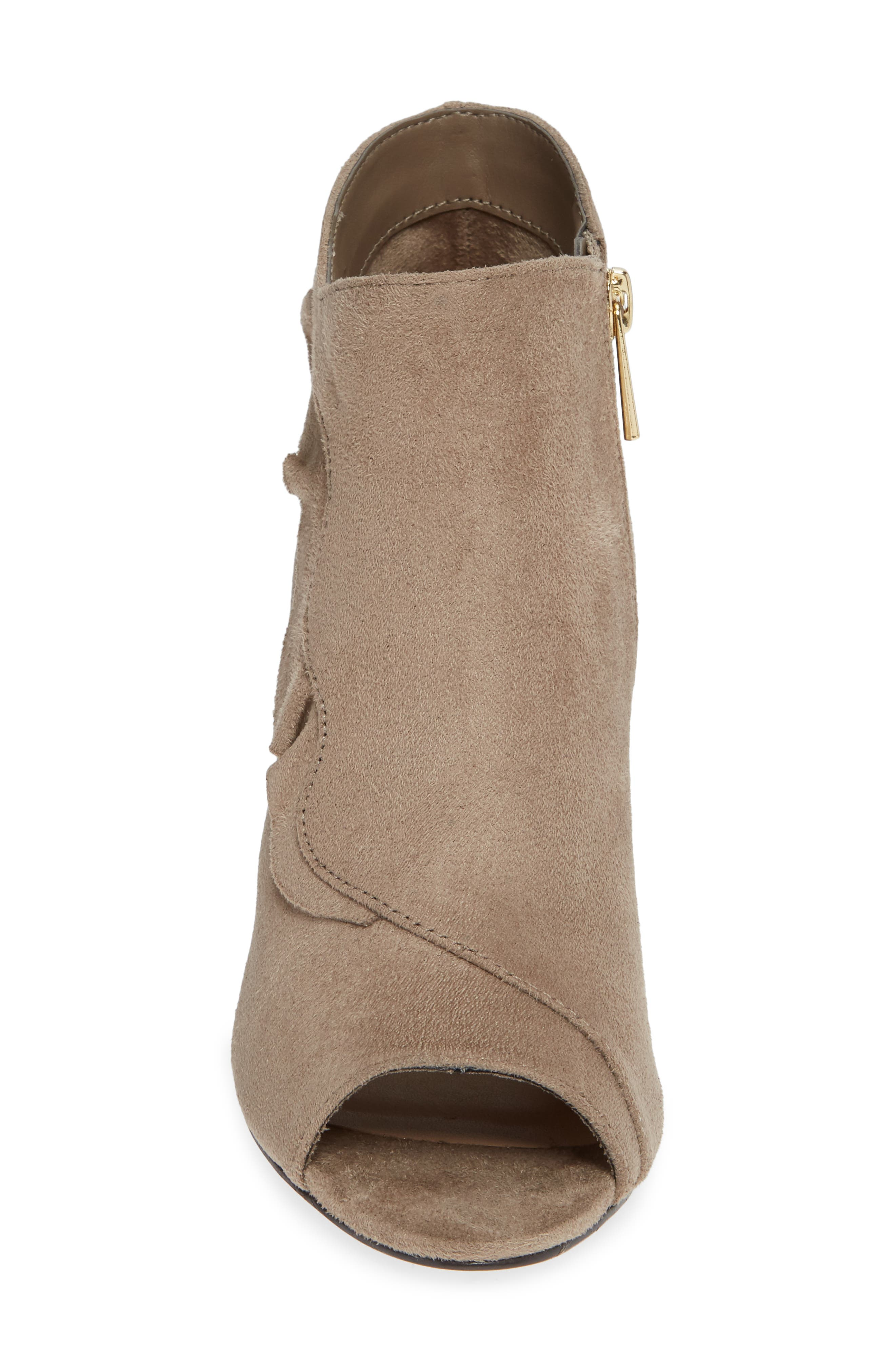 Nicolette Ruffle Dress Bootie,                             Alternate thumbnail 4, color,                             STONE SUEDE