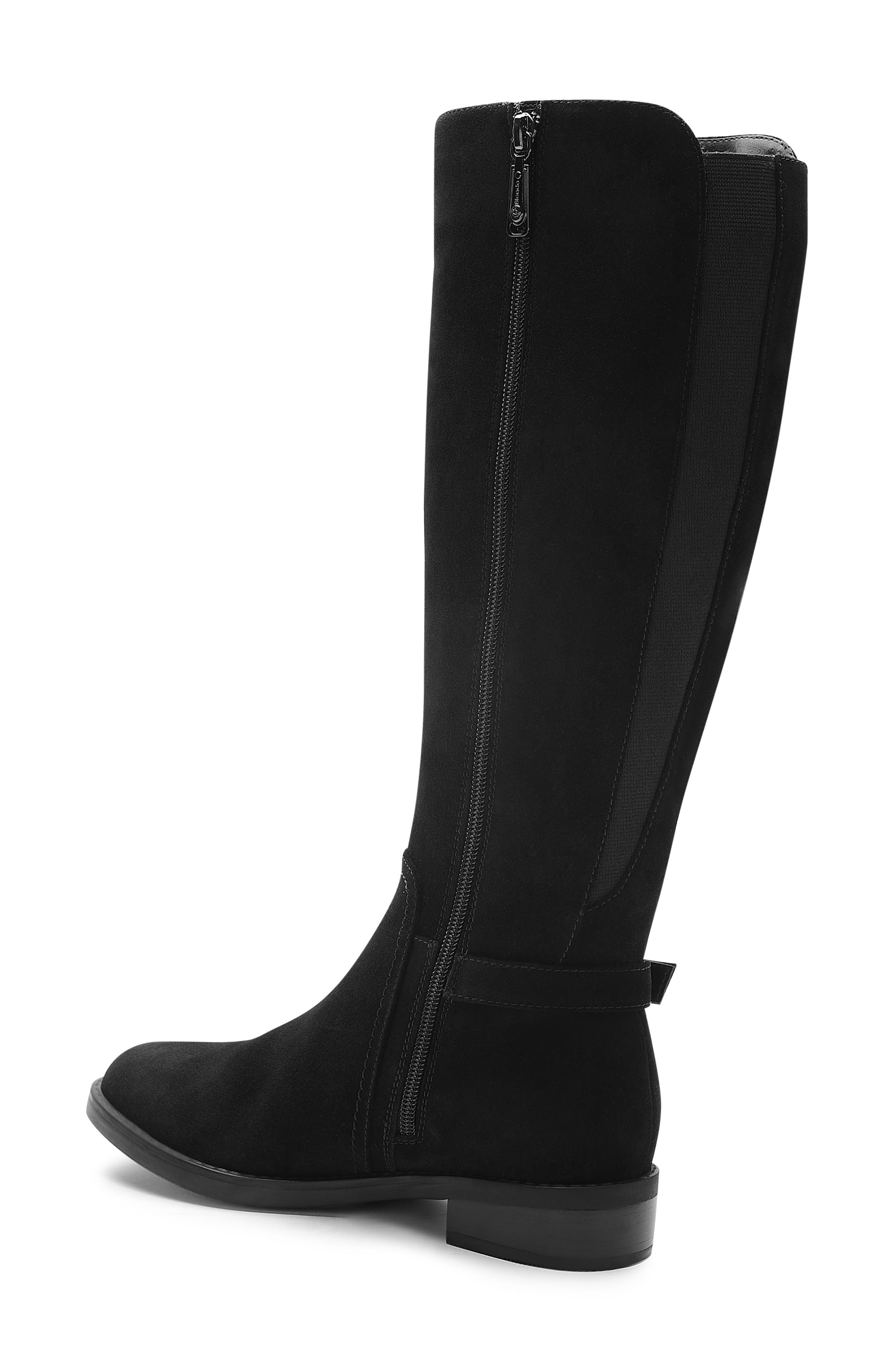 Evie Riding Boot,                             Alternate thumbnail 2, color,                             BLACK SUEDE