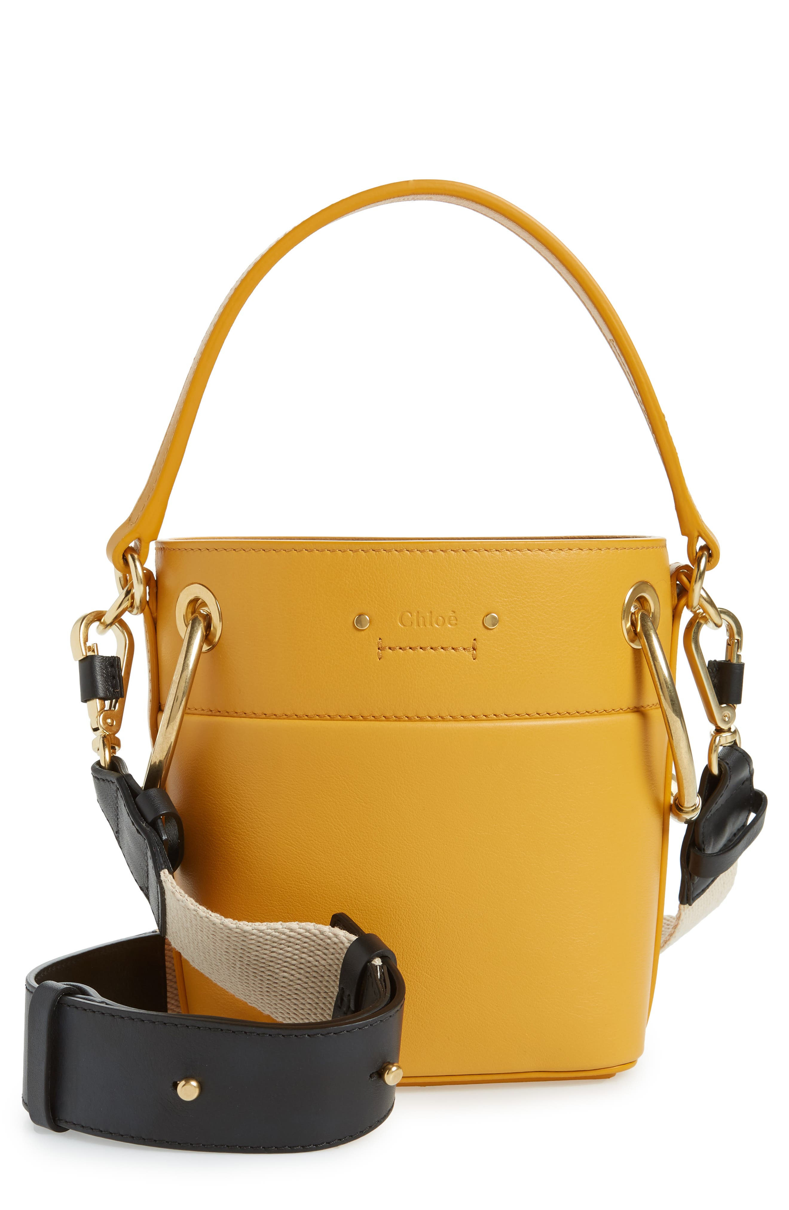 Roy Small Leather Bucket Bag,                         Main,                         color, BURNING CAMEL