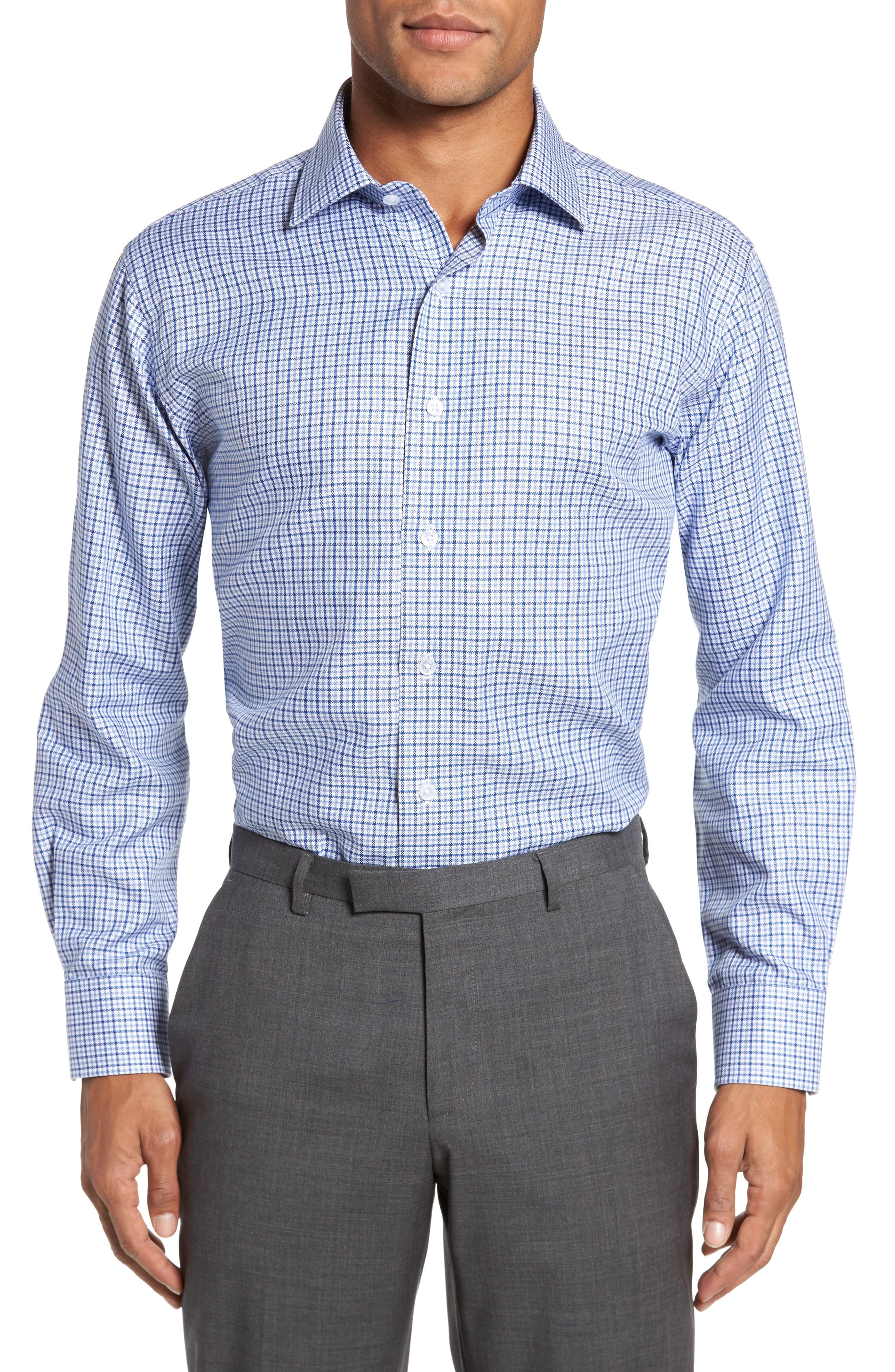 Trim Fit Textured Check Dress Shirt,                             Main thumbnail 1, color,                             NAVY