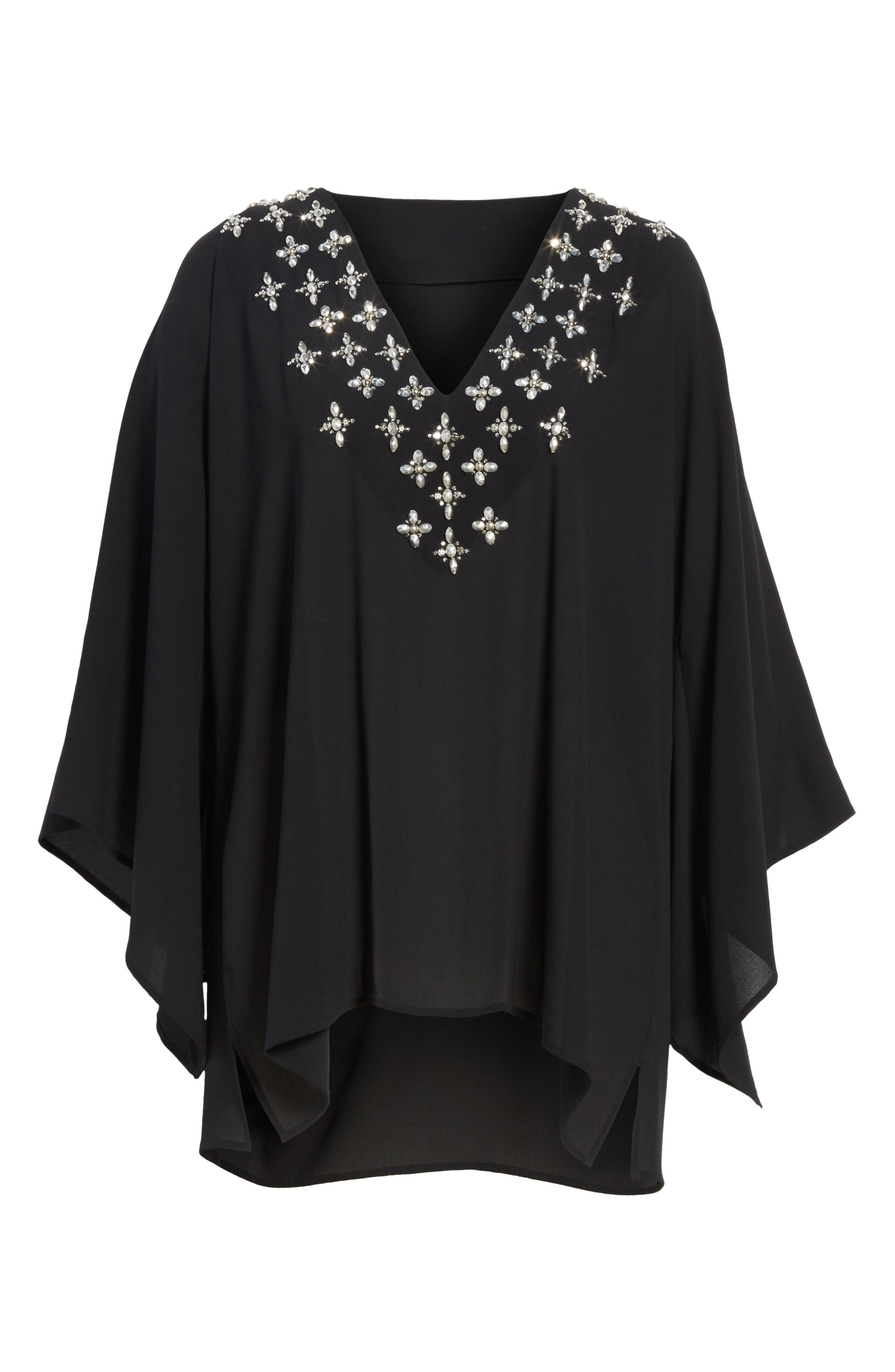 Jeweled Silk Tunic,                             Alternate thumbnail 6, color,                             001