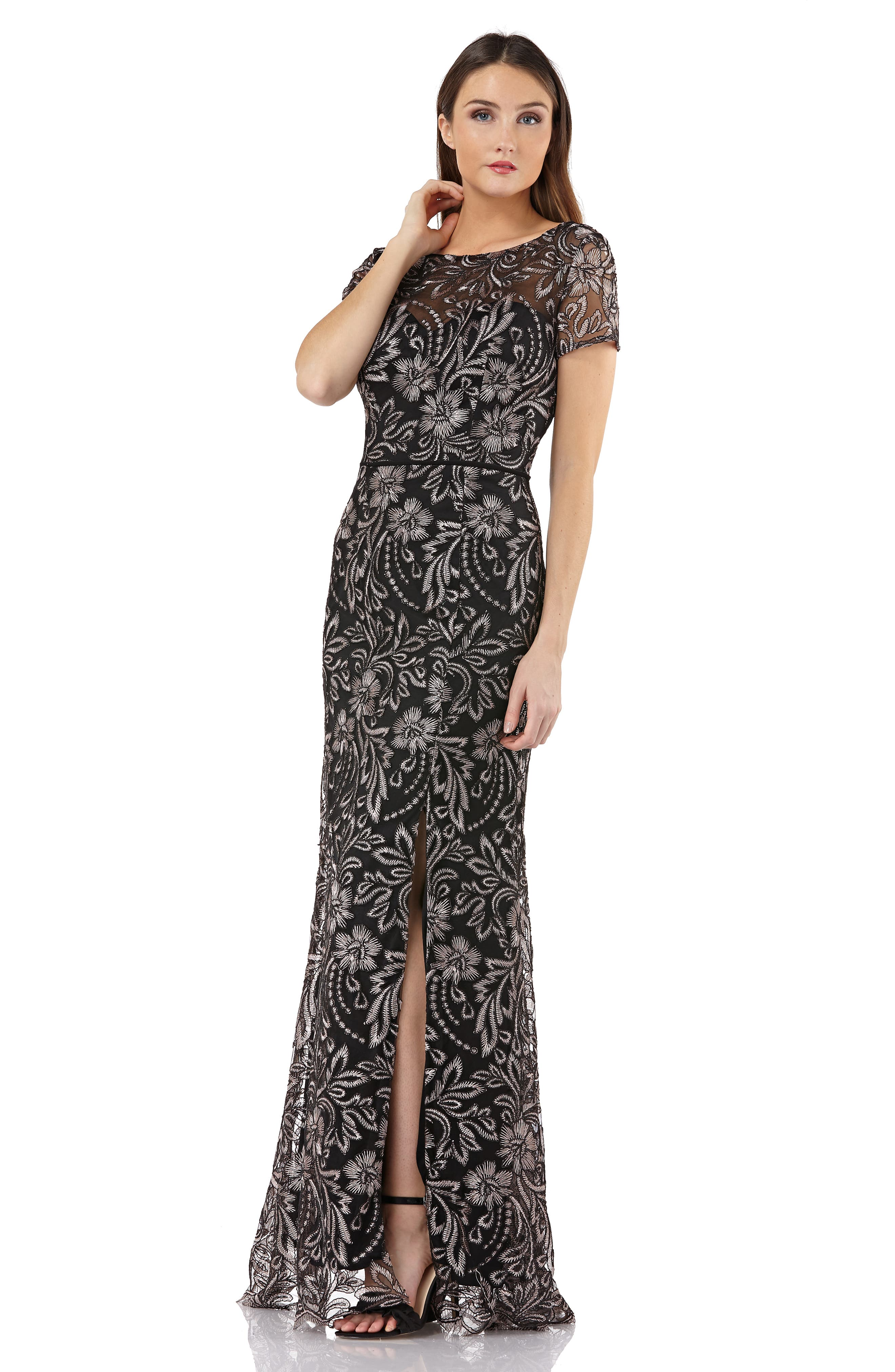JS COLLECTIONS,                             Embroidered Trumpet Gown,                             Alternate thumbnail 6, color,                             001