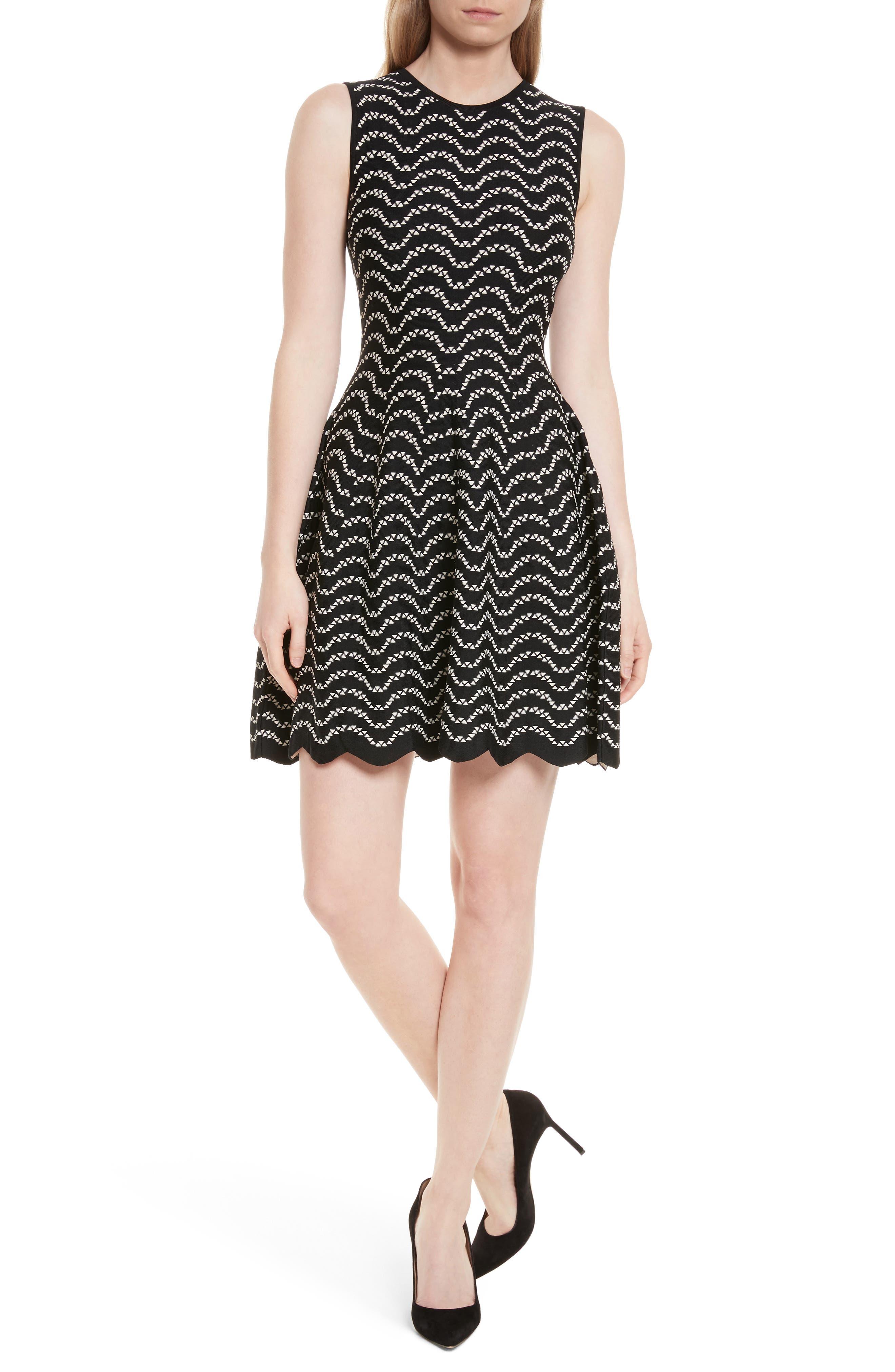 Bryena Jacquard Fit & Flare Dress,                             Main thumbnail 1, color,                             001