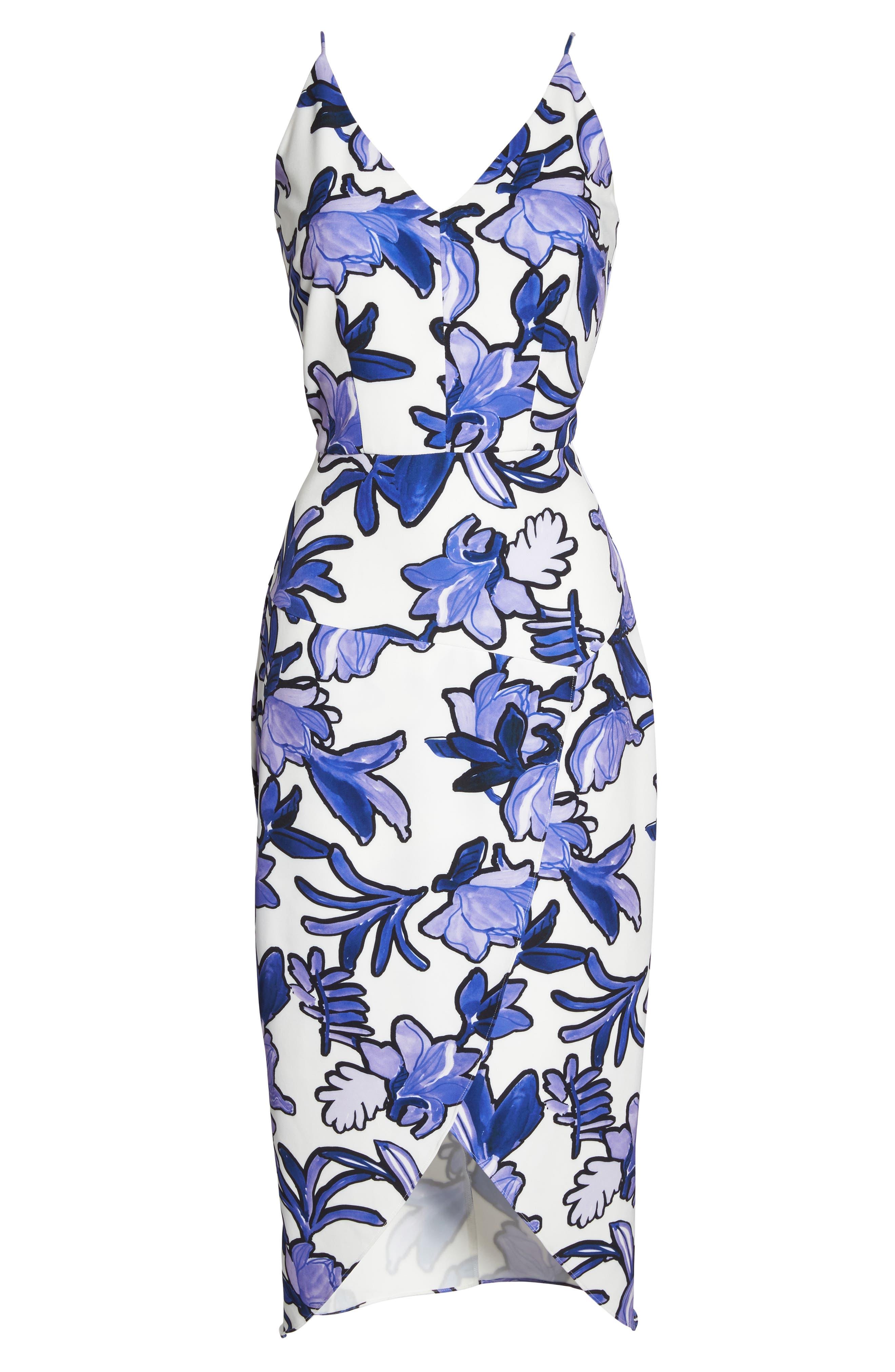 Floral Midi Dress,                             Alternate thumbnail 6, color,                             100