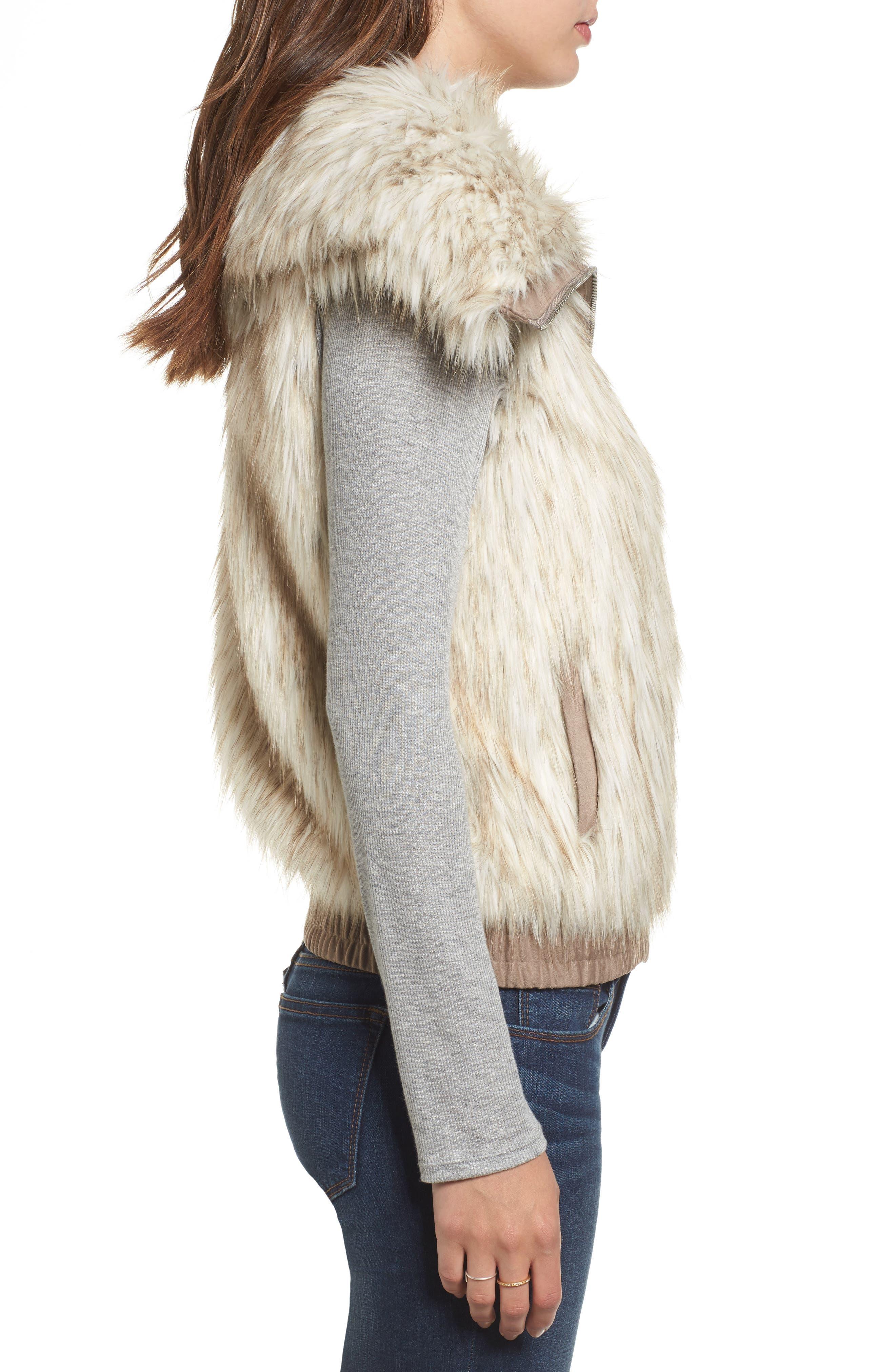 Collared Faux Fur Vest,                             Alternate thumbnail 3, color,                             161